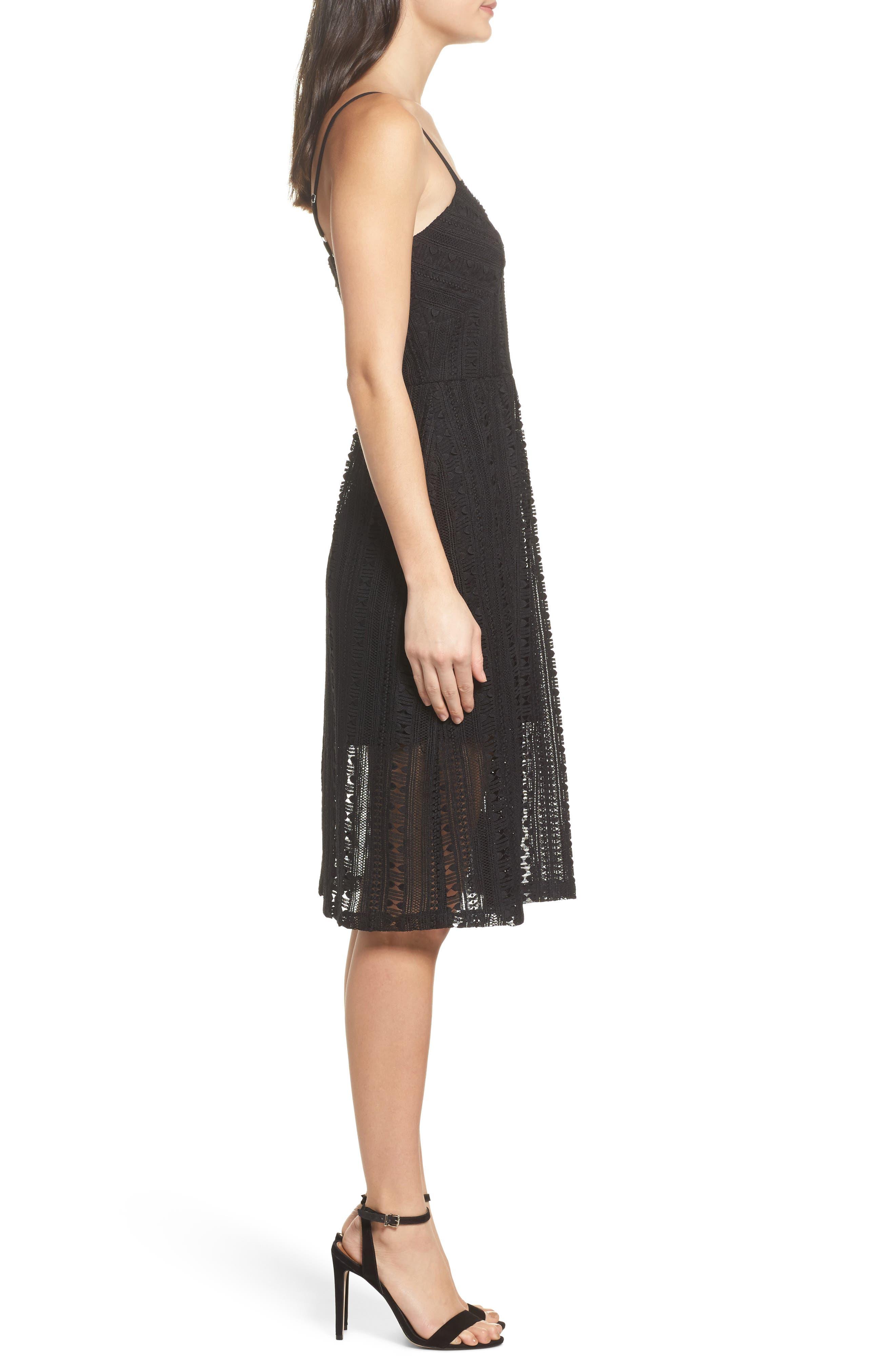 Belissimo Lace Fit & Flare Midi Dress,                             Alternate thumbnail 4, color,                             Black