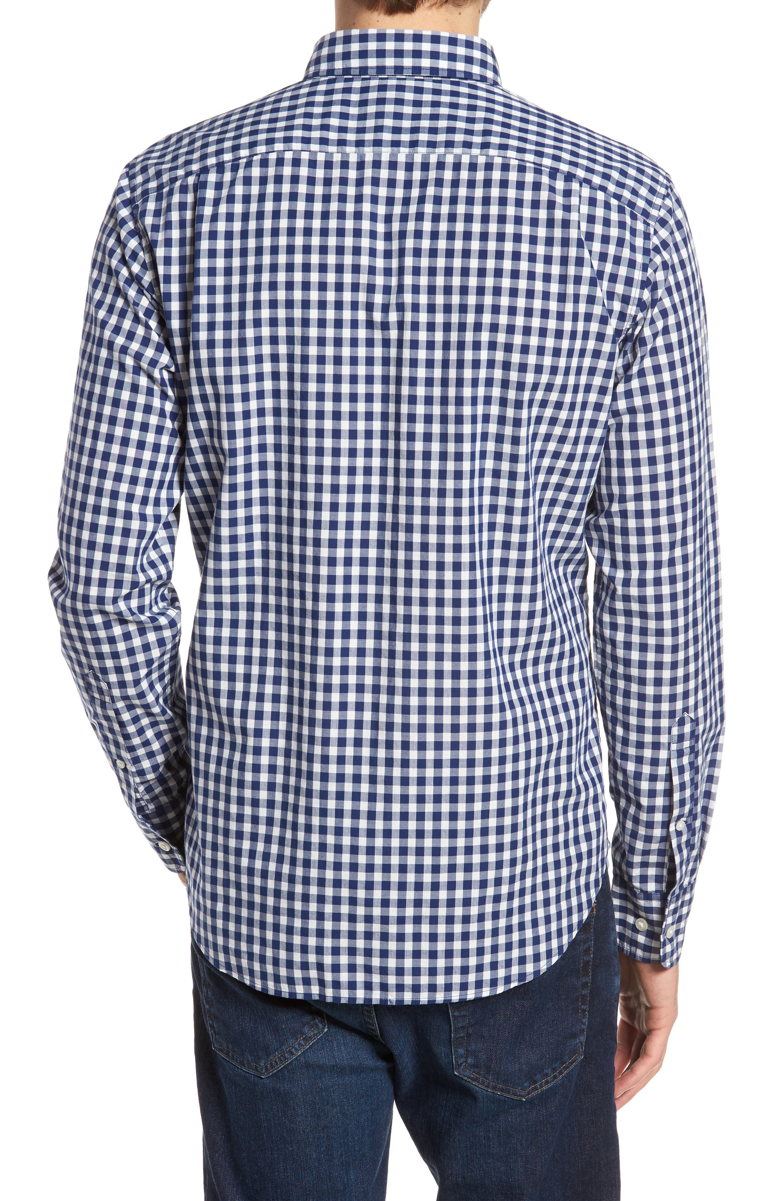 Summerweight Slim Fit Check Sport Shirt,                             Alternate thumbnail 3, color,                             Canyon Gingham - Blue Depths