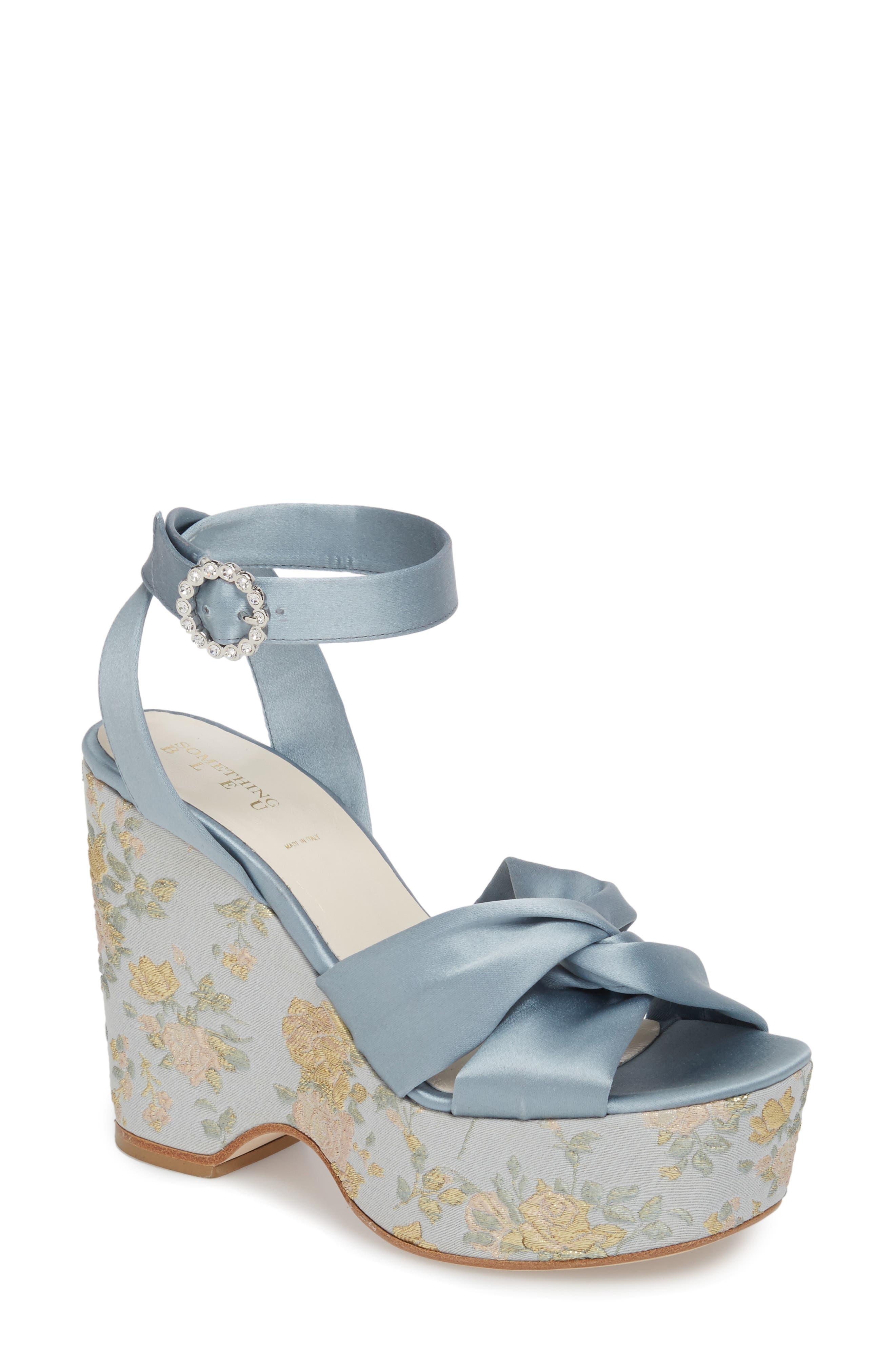 Serena Brocade Platform Sandal,                             Main thumbnail 1, color,                             Pearl Blue Satin