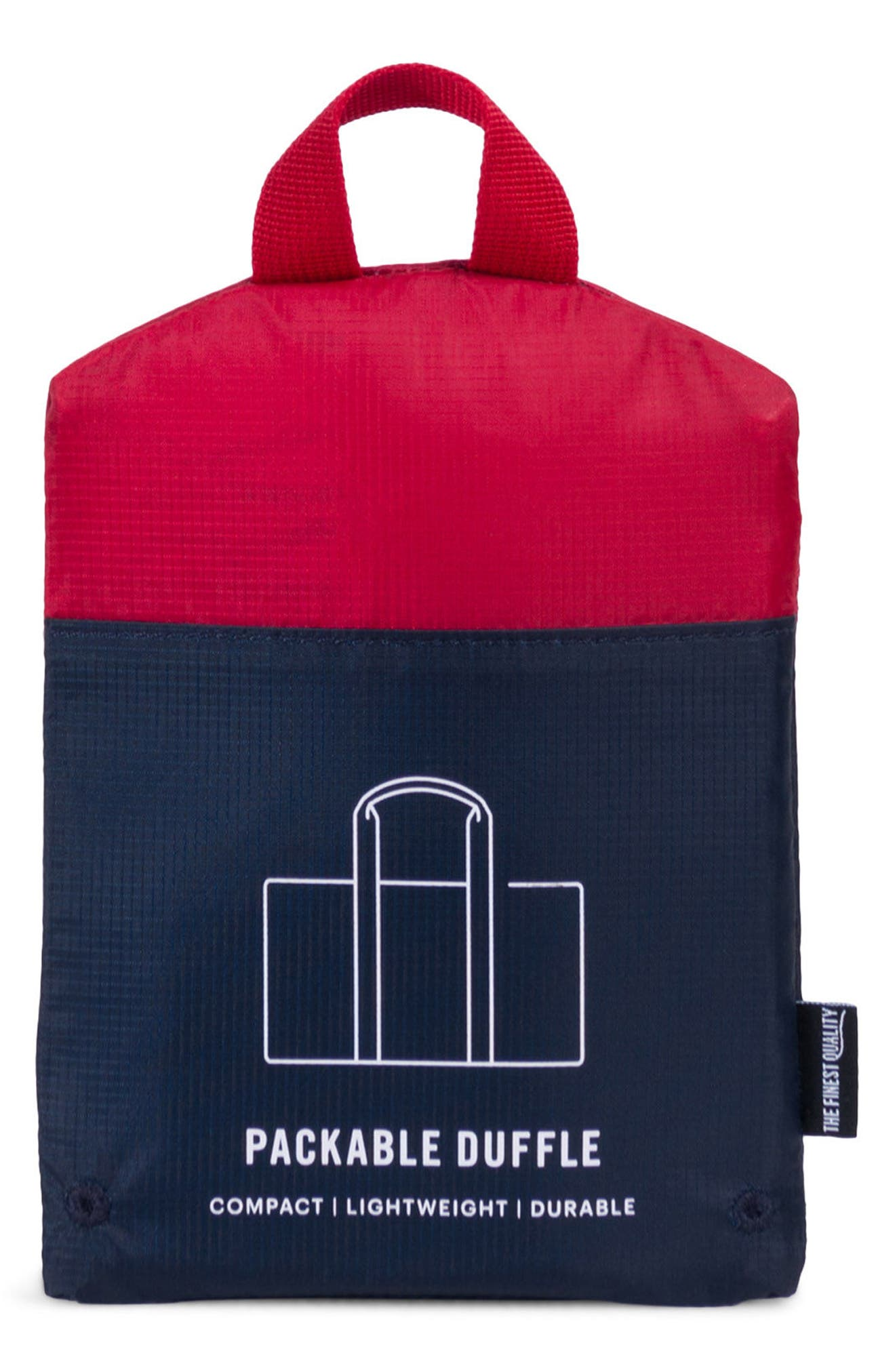 Packable Duffel Bag,                             Alternate thumbnail 3, color,                             Navy/ Red
