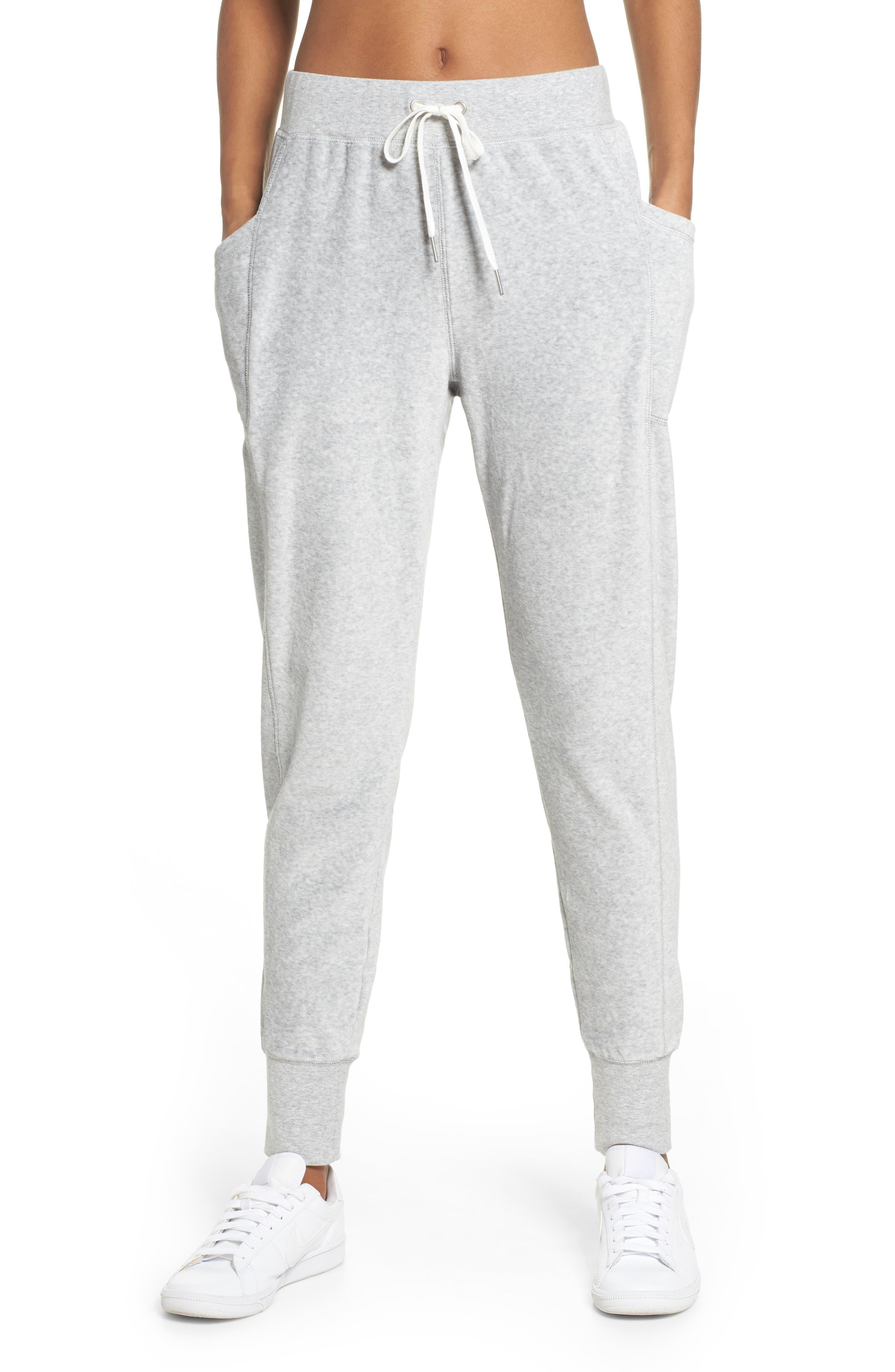 Lexi Slim Velour Leggings,                         Main,                         color, Grey Light Heather