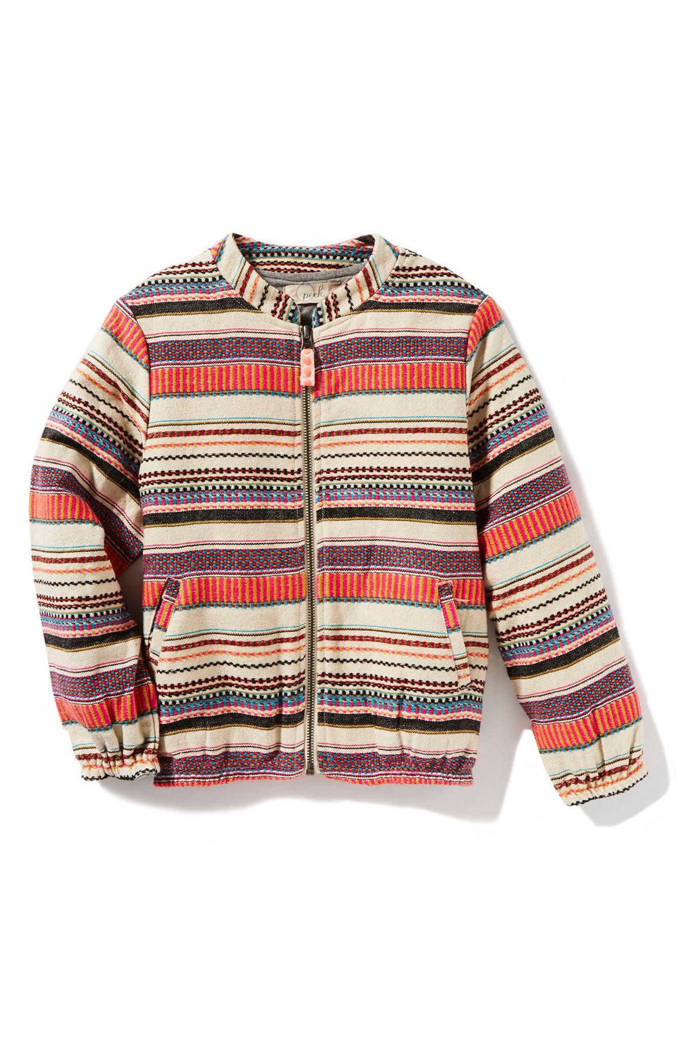 Main Image - Peek Mexico Stripe Jacquard Bomber Jacket (Toddler Girls, Little Girls & Big Girls)