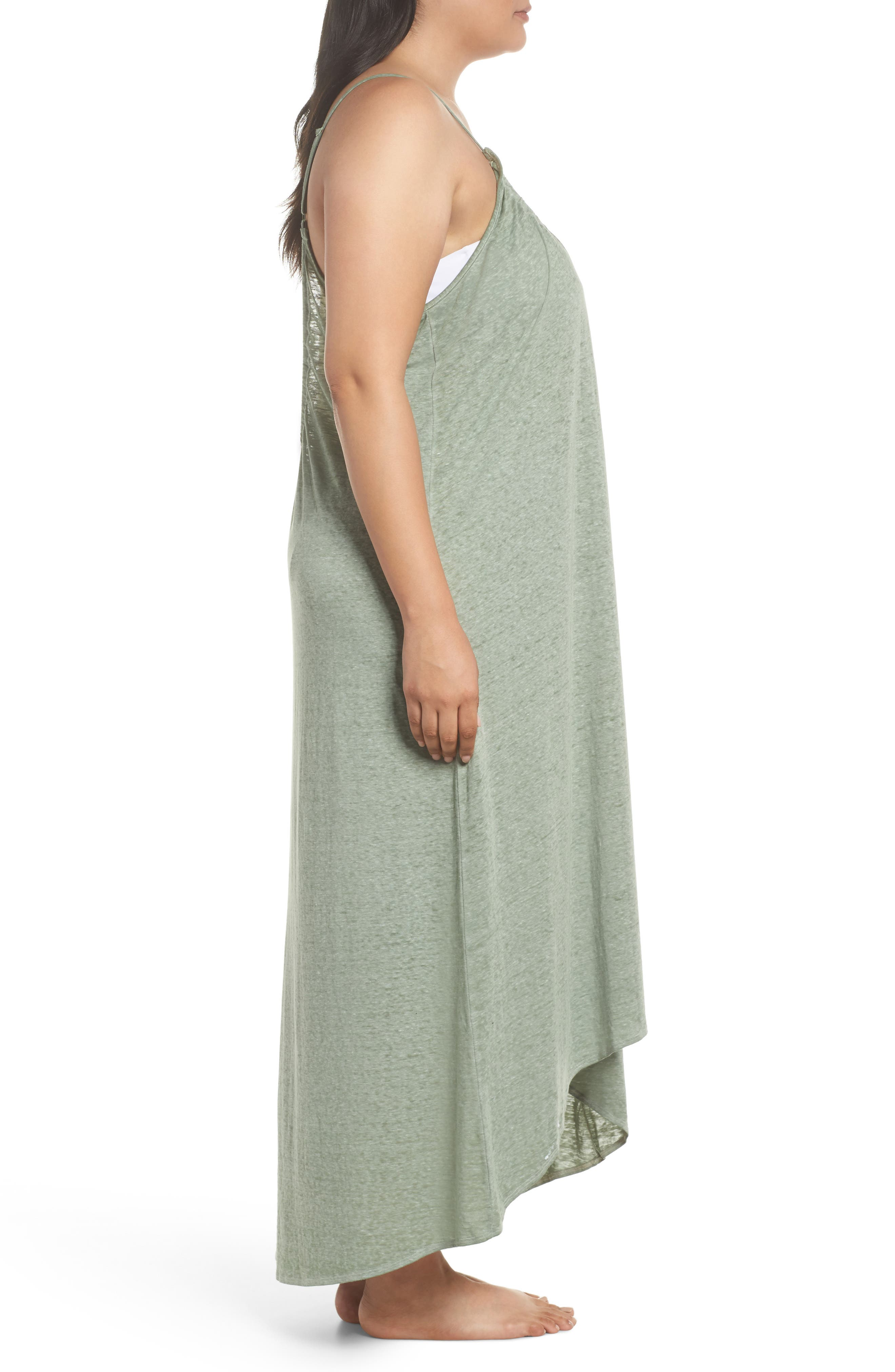 Maxi Cover-Up Dress,                             Alternate thumbnail 3, color,                             Green Dune