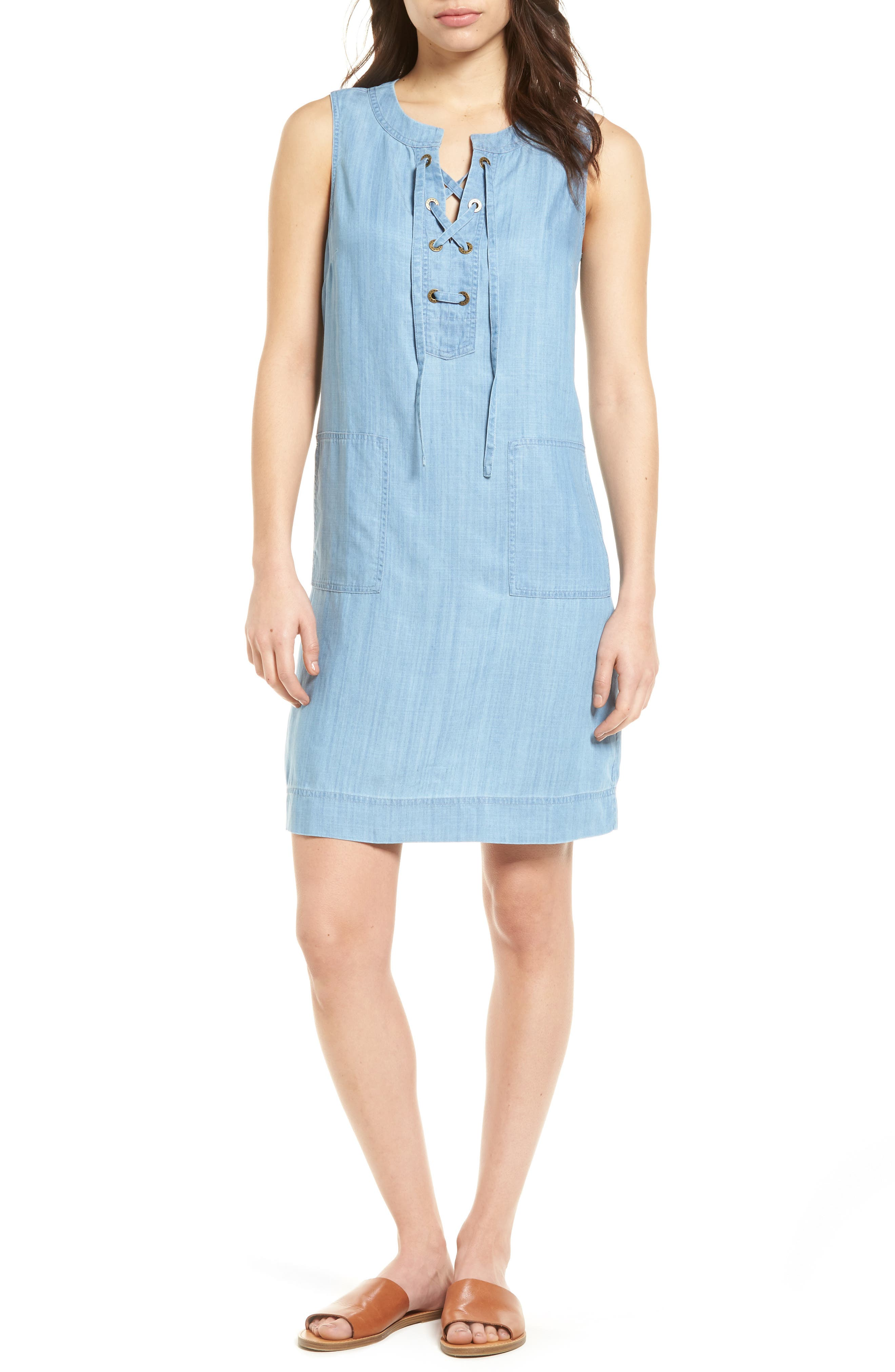 Lace-Up Chambray Shift Dress,                         Main,                         color, Light Storm Wash