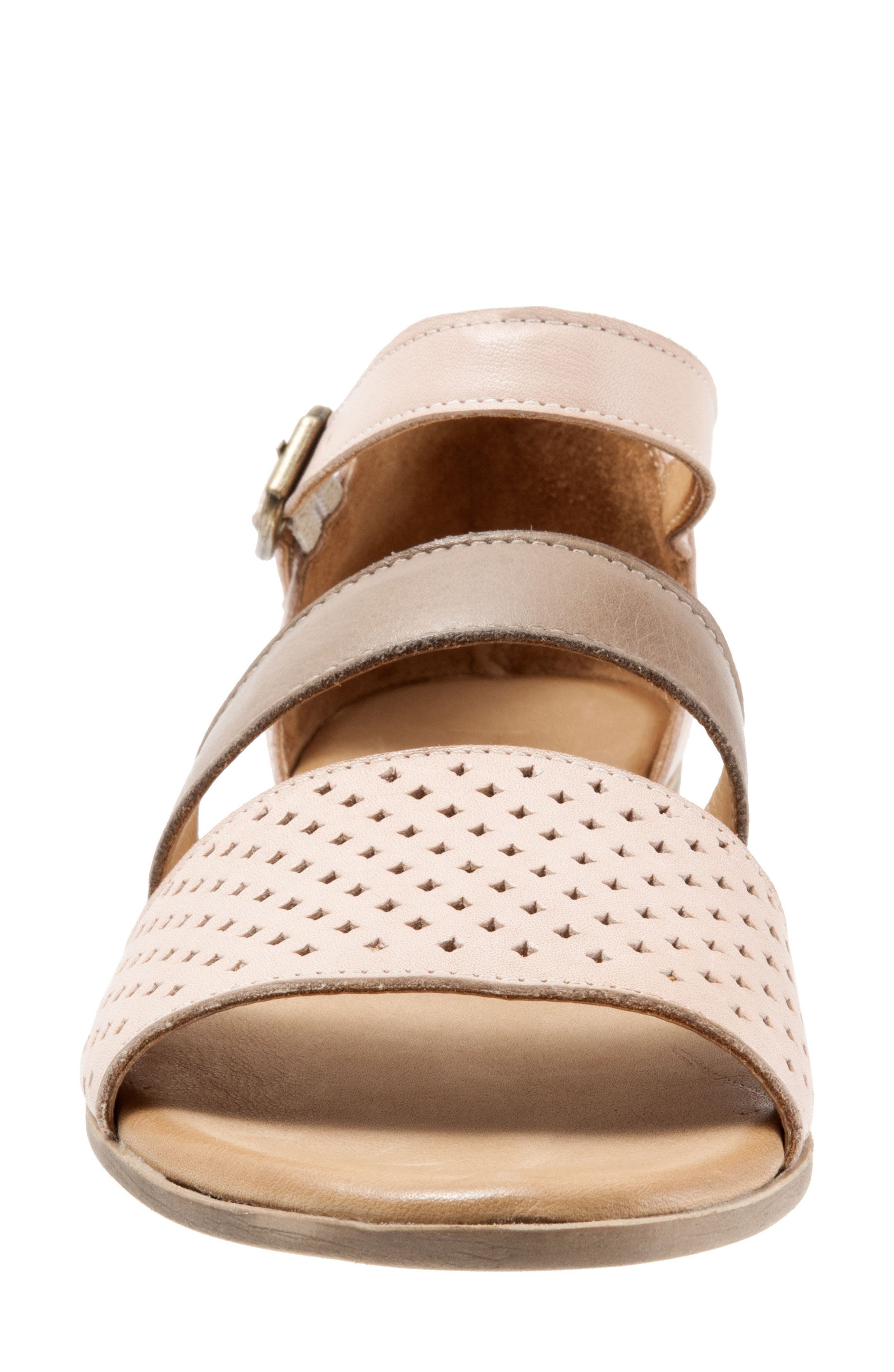 Janet Perforated Flat Sandal,                             Alternate thumbnail 4, color,                             Pale Pink Leather