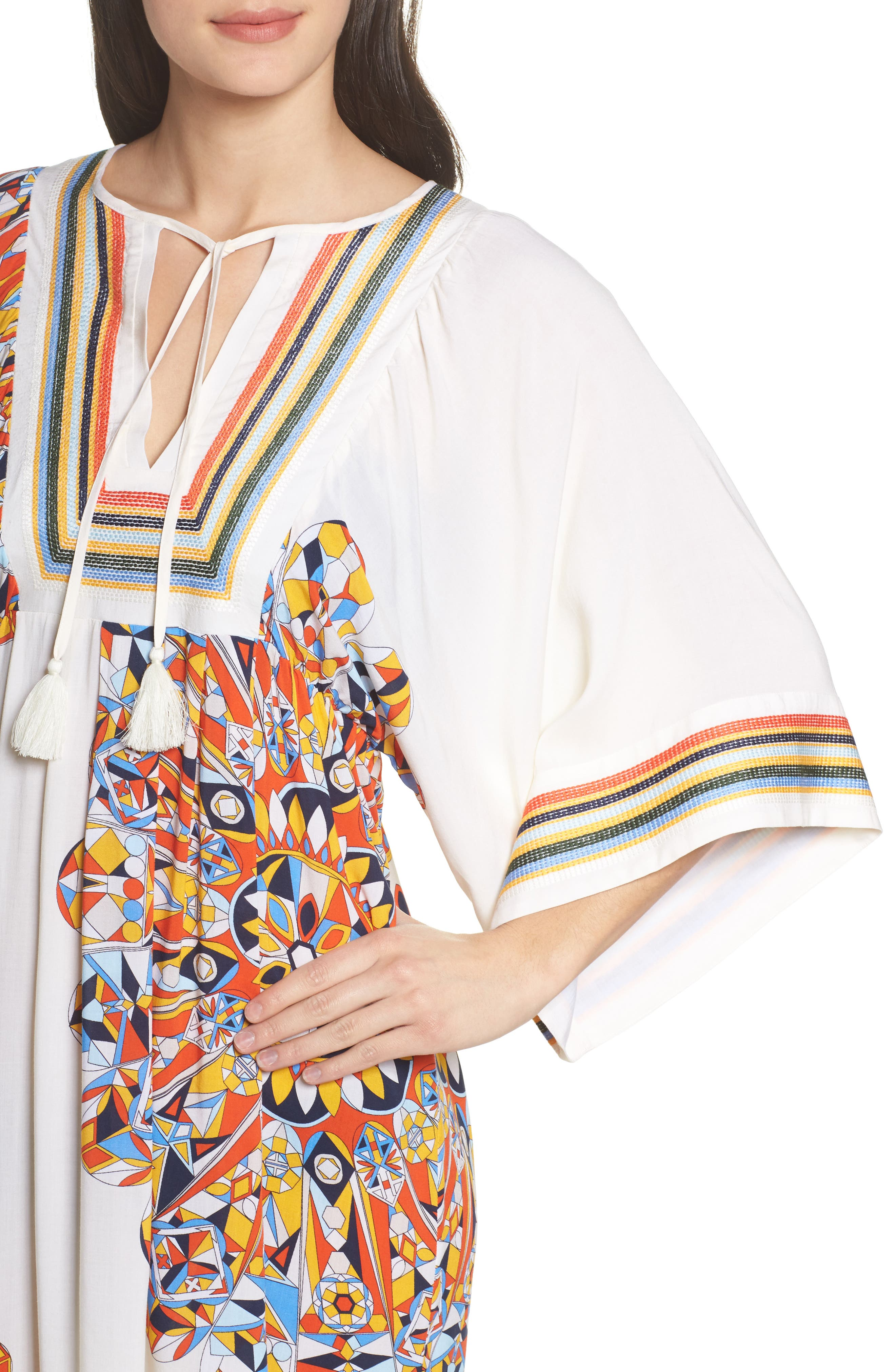 Geometric Tunic Cover-Up,                             Alternate thumbnail 4, color,                             Sweet Tangerine Psychedelic