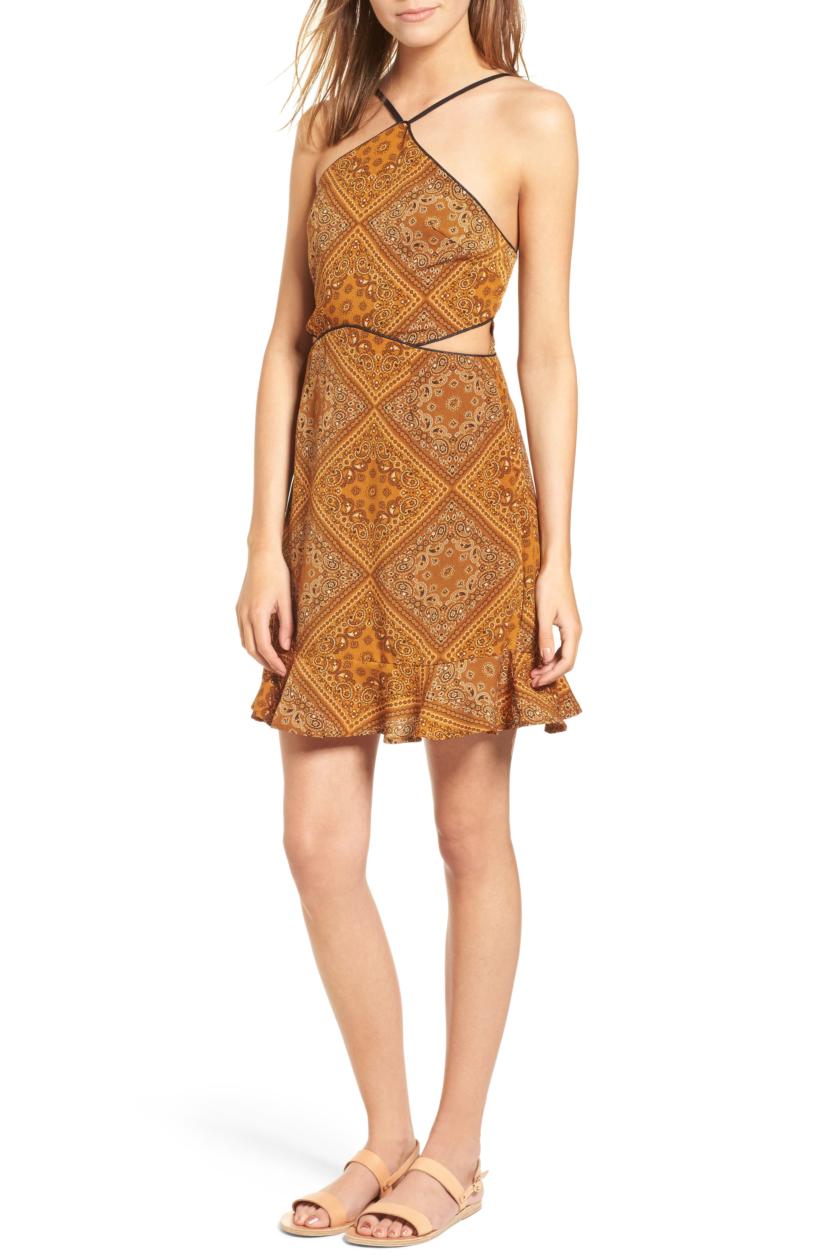 Bandana Bella Dress,                             Main thumbnail 1, color,                             Honey