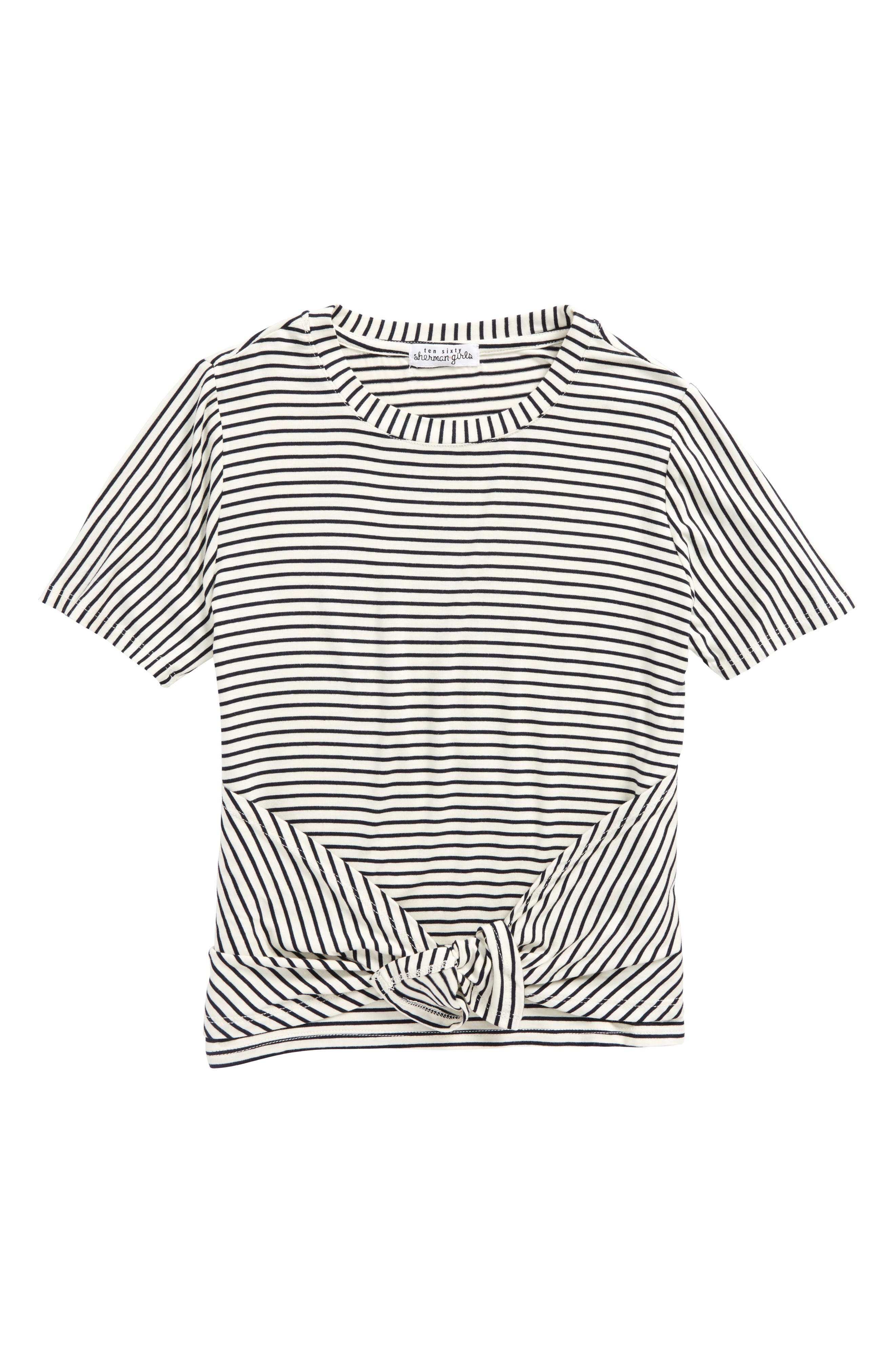 Ten Sixty Sherman Stripe Tie Front Tee (Big Girls)