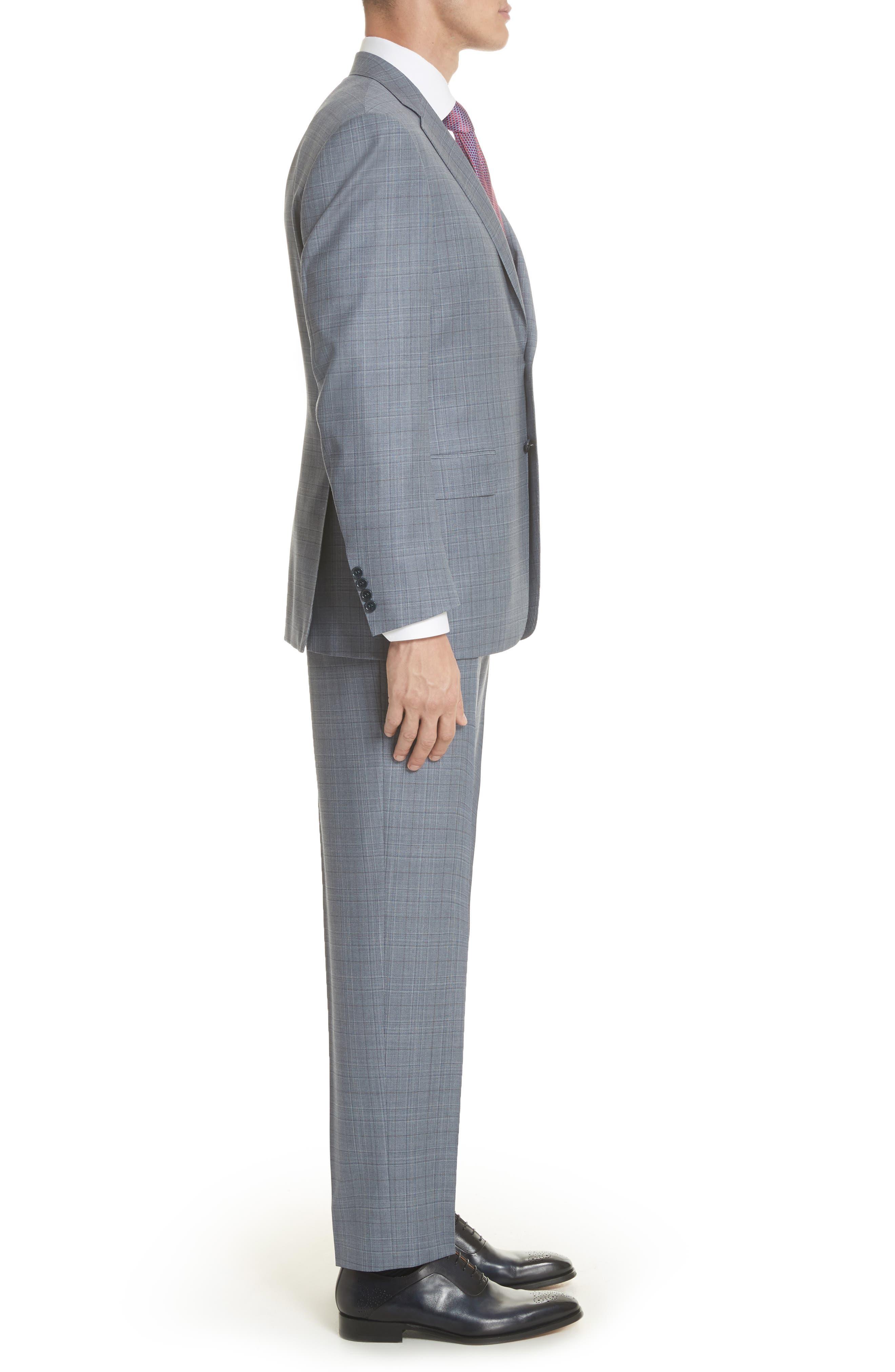 Classic Fit Plaid Wool Suit,                             Alternate thumbnail 3, color,                             Blue