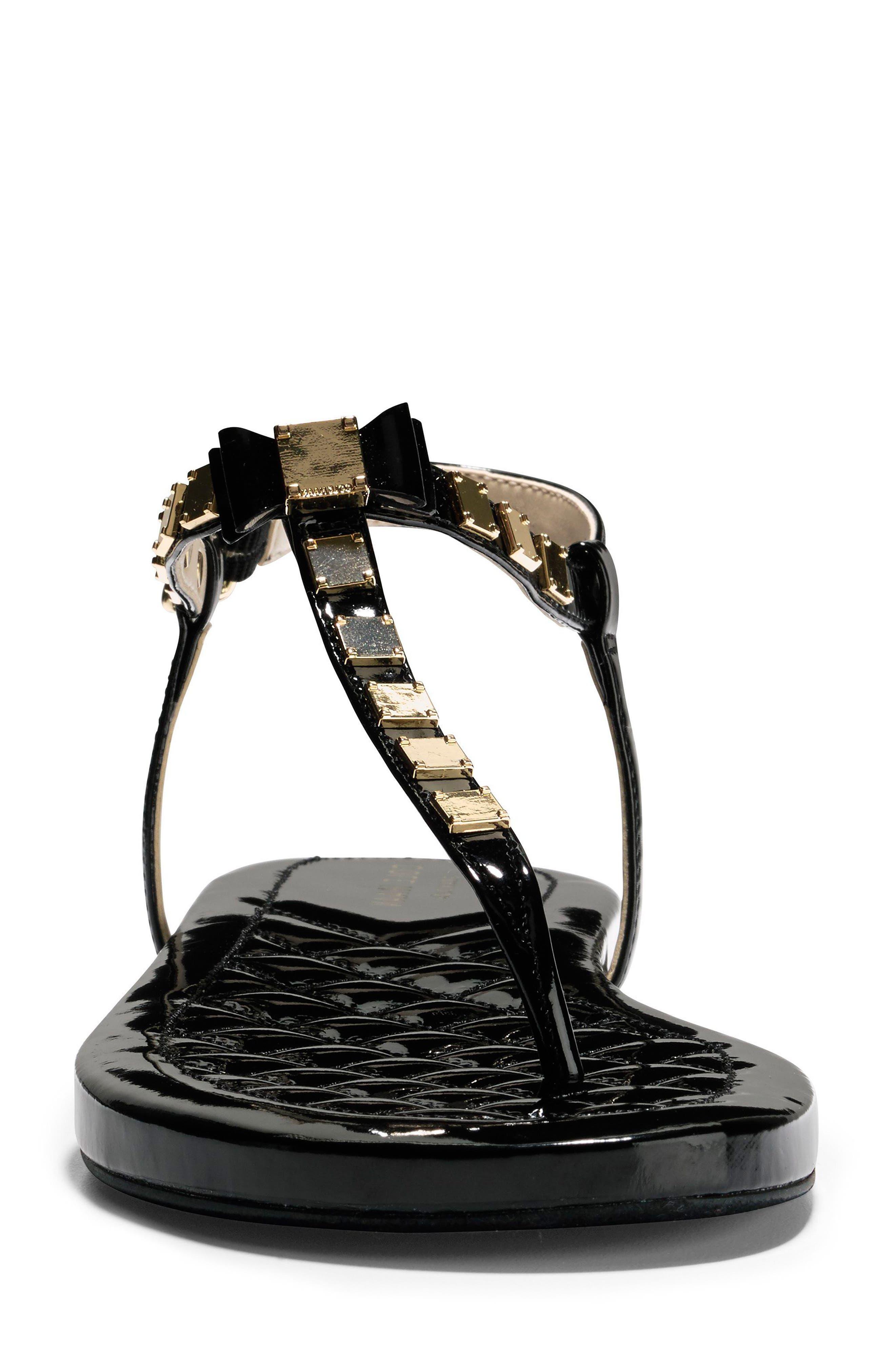 Tali Mini Bow Sandal,                             Alternate thumbnail 4, color,                             Black Patent