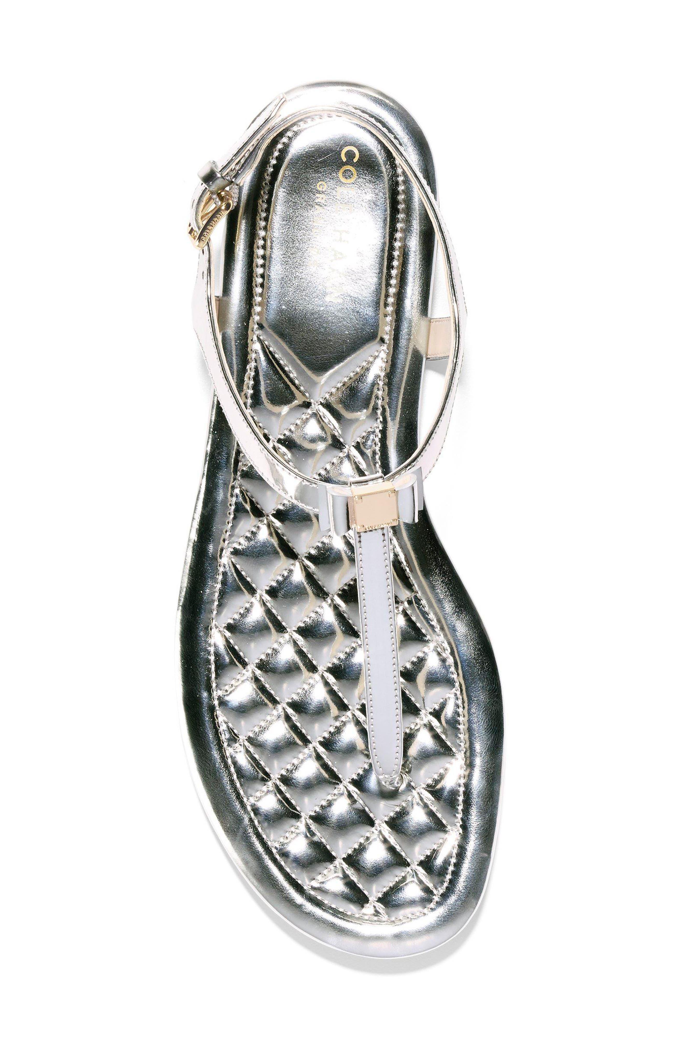 Tali Bow Sandal,                             Alternate thumbnail 5, color,                             Silver Leather