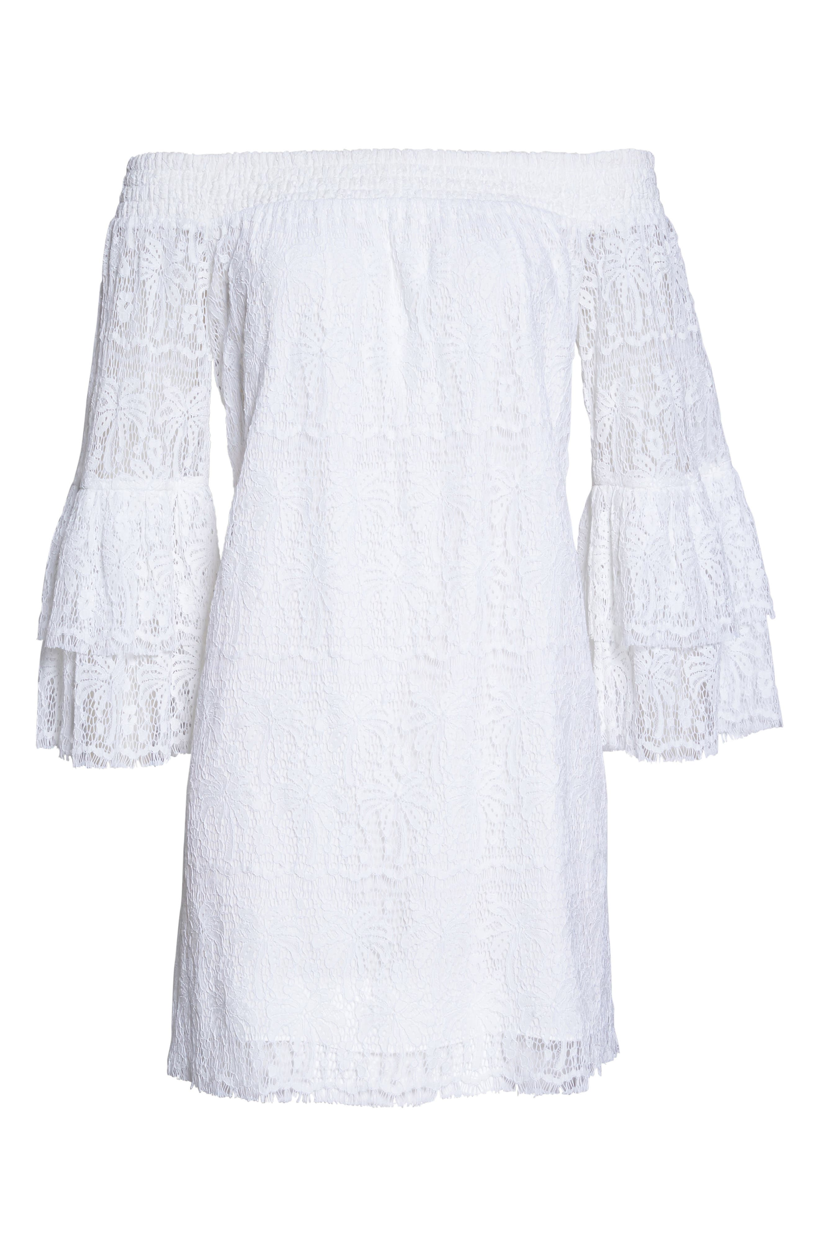 Tobyn Off the Shoulder Dres,                             Alternate thumbnail 6, color,                             Resort White Palm Tree Lace