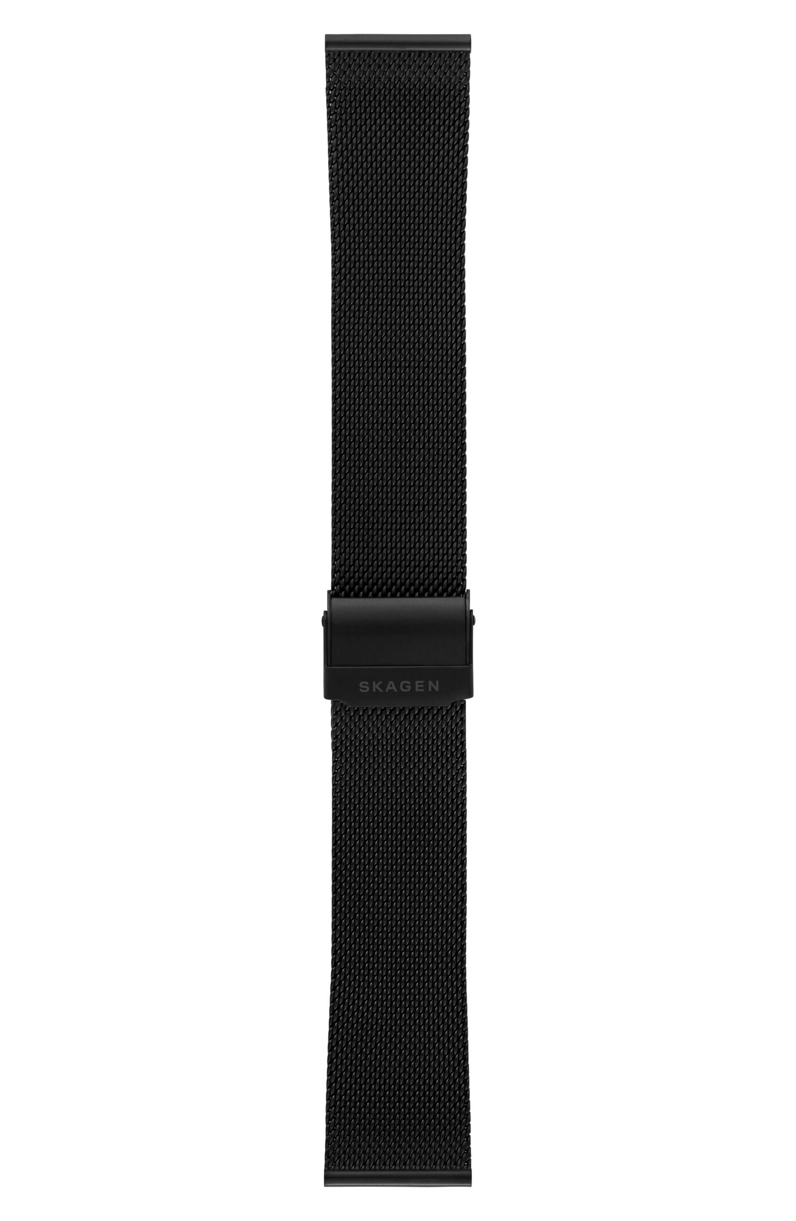 Mesh Watch Strap, 22mm,                             Alternate thumbnail 2, color,                             Black
