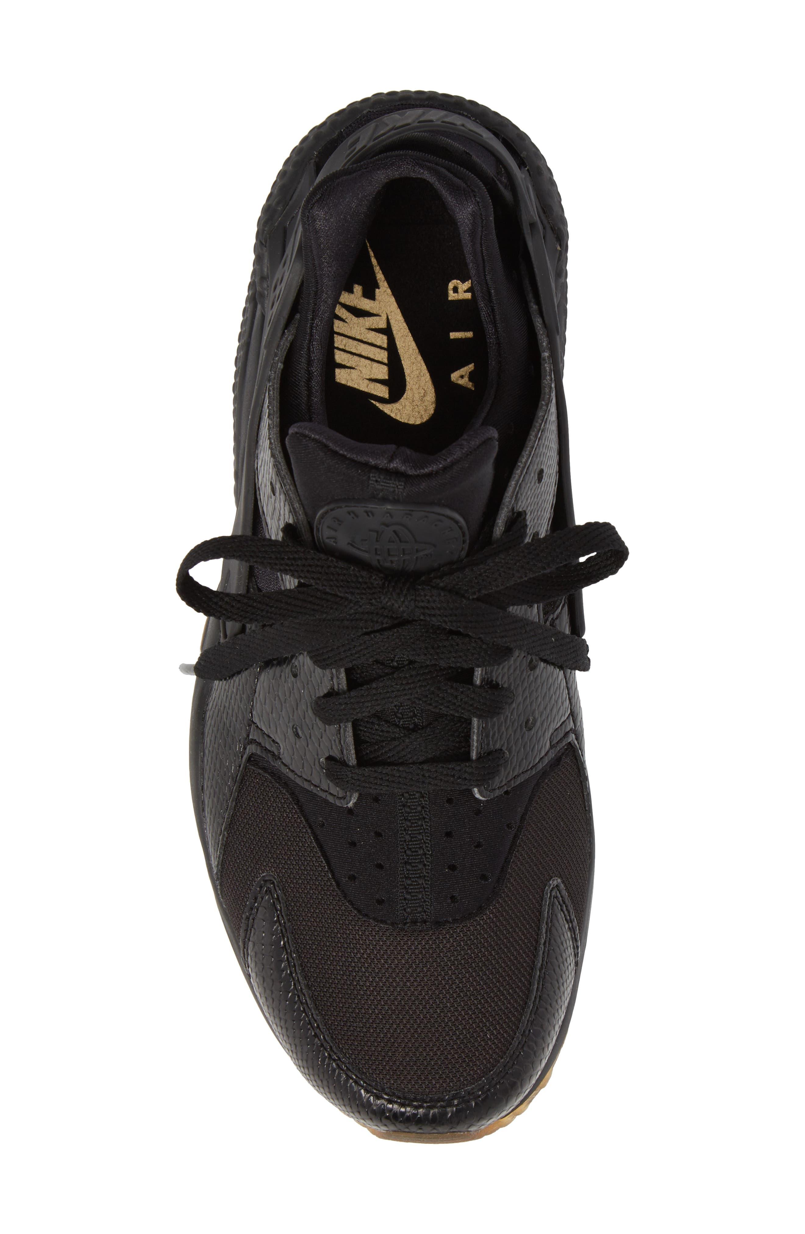 'Air Huarache' Sneaker,                             Alternate thumbnail 5, color,                             Black/ Elemental Gold/ Brown