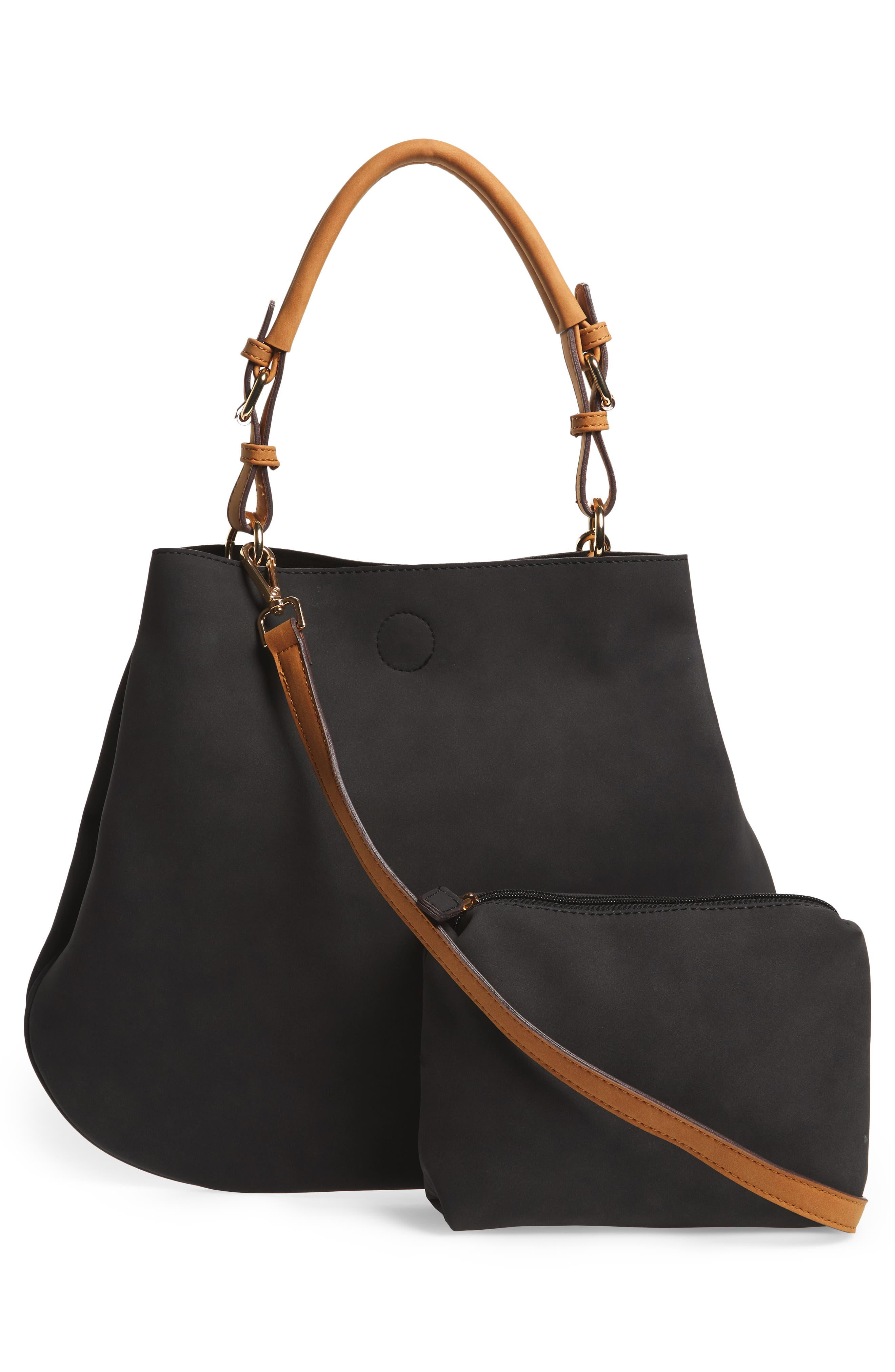 Roman Faux Leather Slouchy Tote,                             Alternate thumbnail 3, color,                             Black Combo