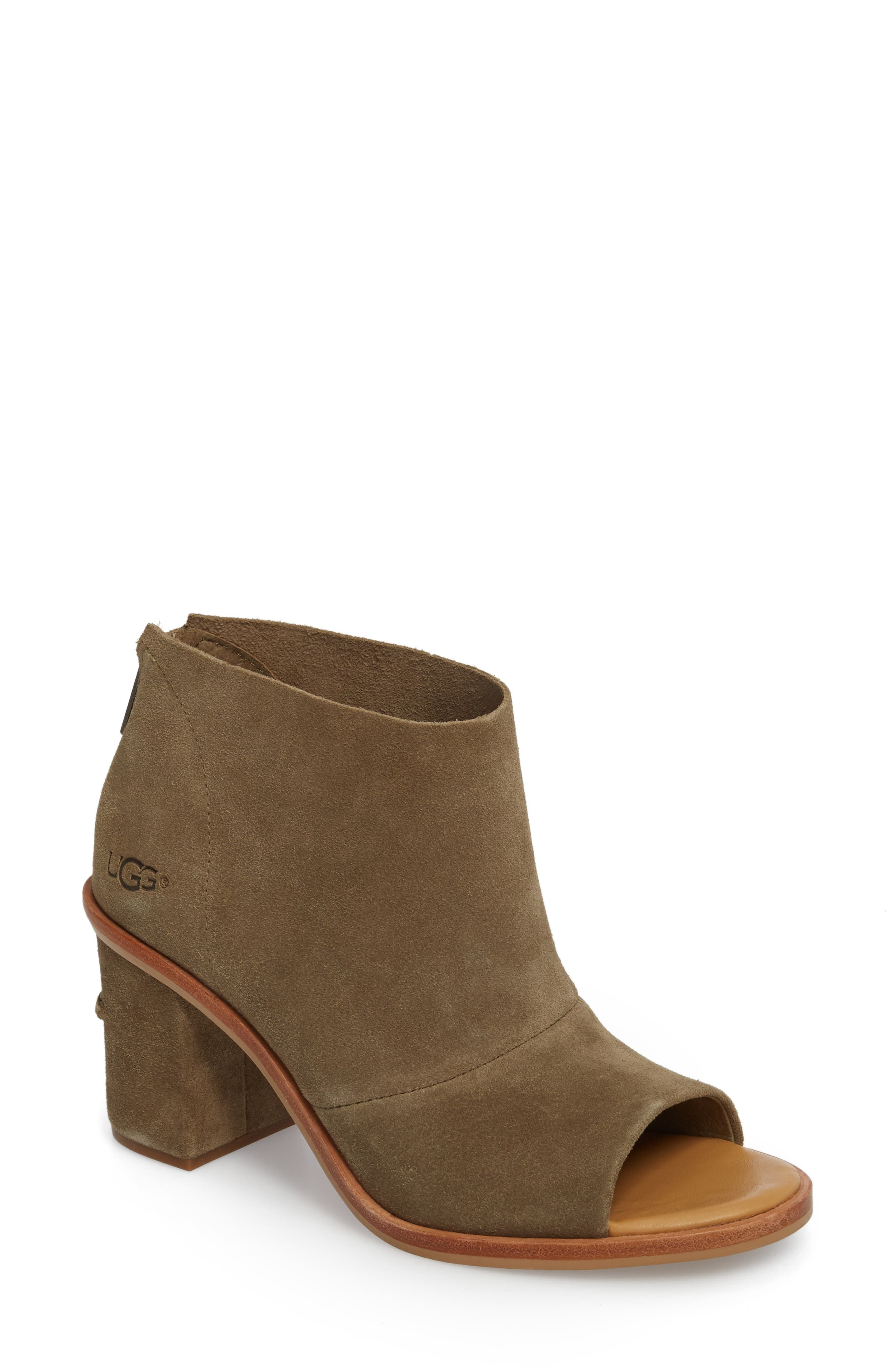 Ginger Peep Toe Bootie,                             Main thumbnail 1, color,                             Apple Green Suede
