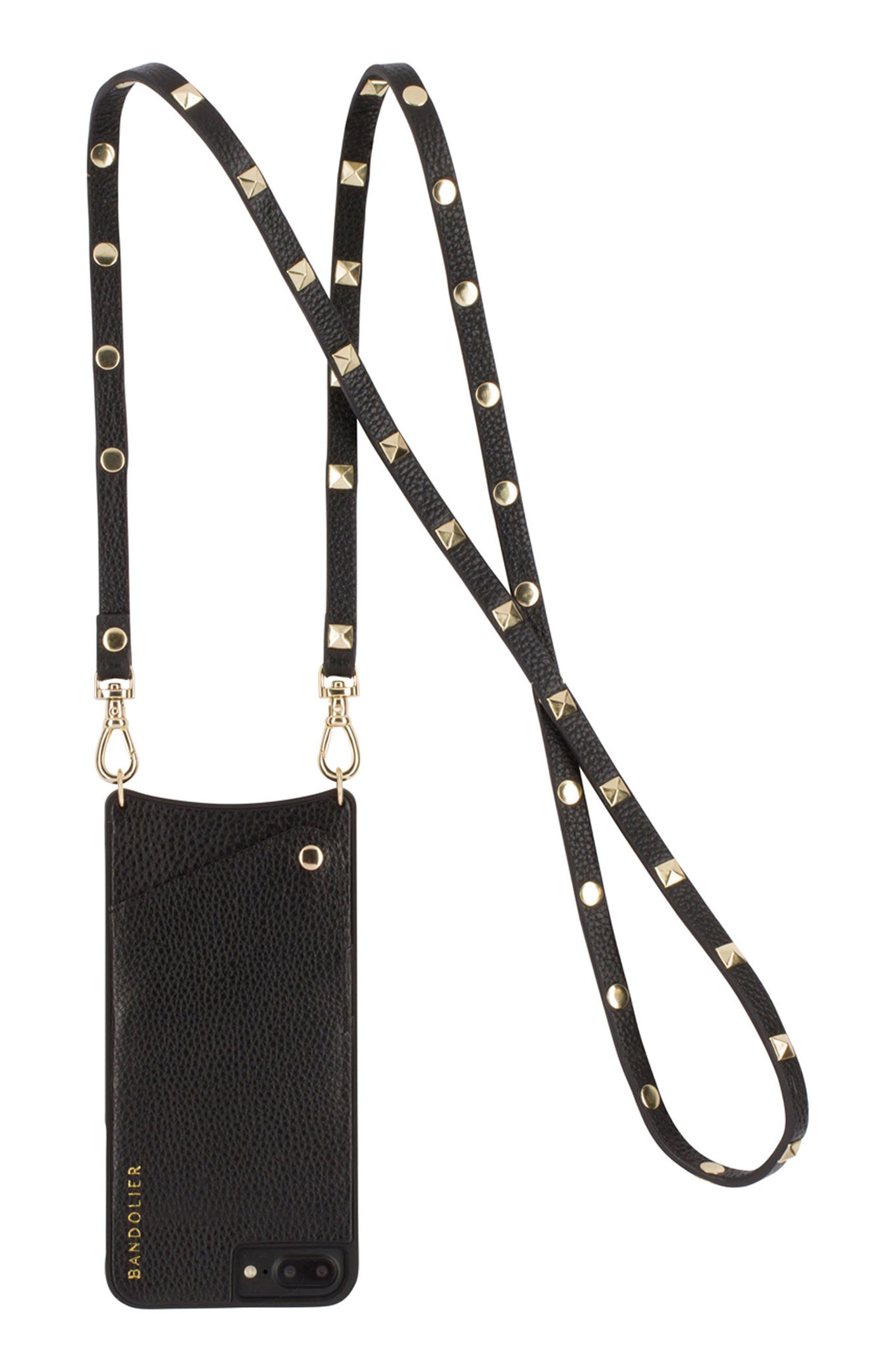 Sarah Leather iPhone 6/7/8 & 6/7/8 Plus Crossbody Case,                             Main thumbnail 1, color,                             New Black/ Gold