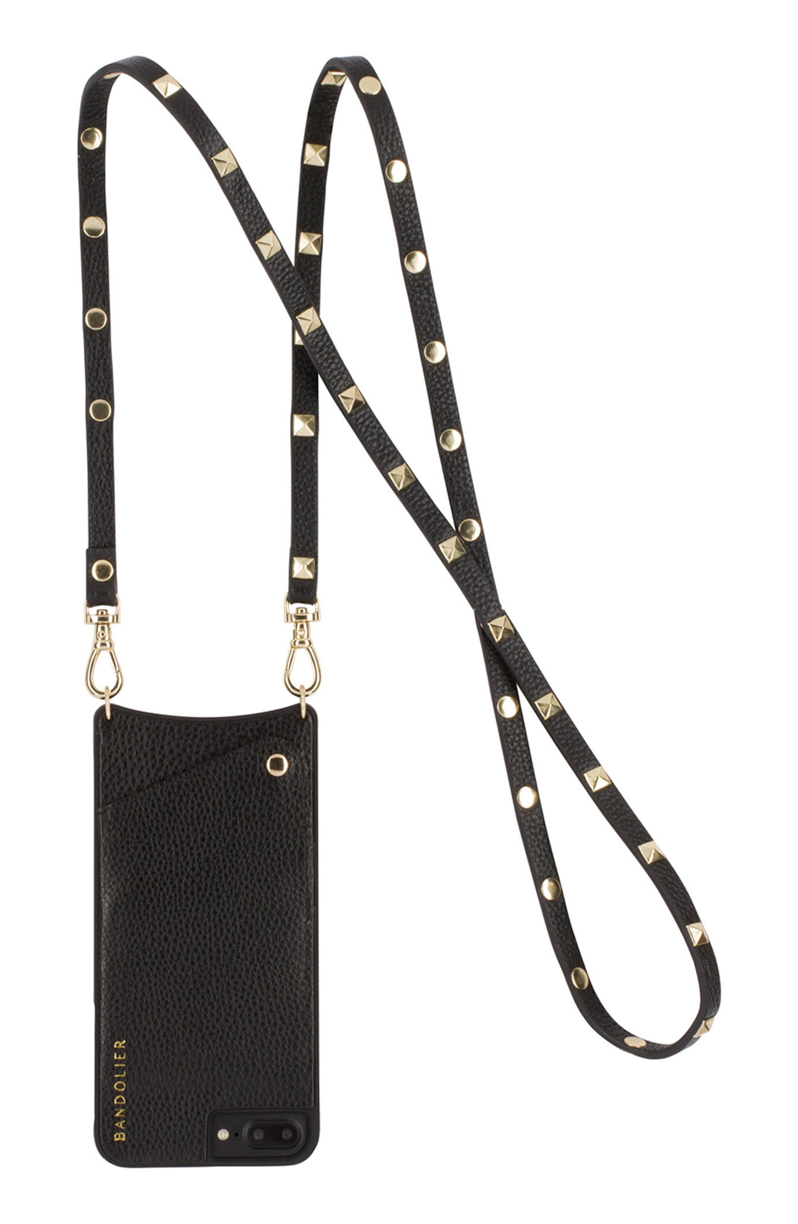 Sarah Leather iPhone 6/7/8 & 6/7/8 Plus Crossbody Case,                         Main,                         color, New Black/ Gold