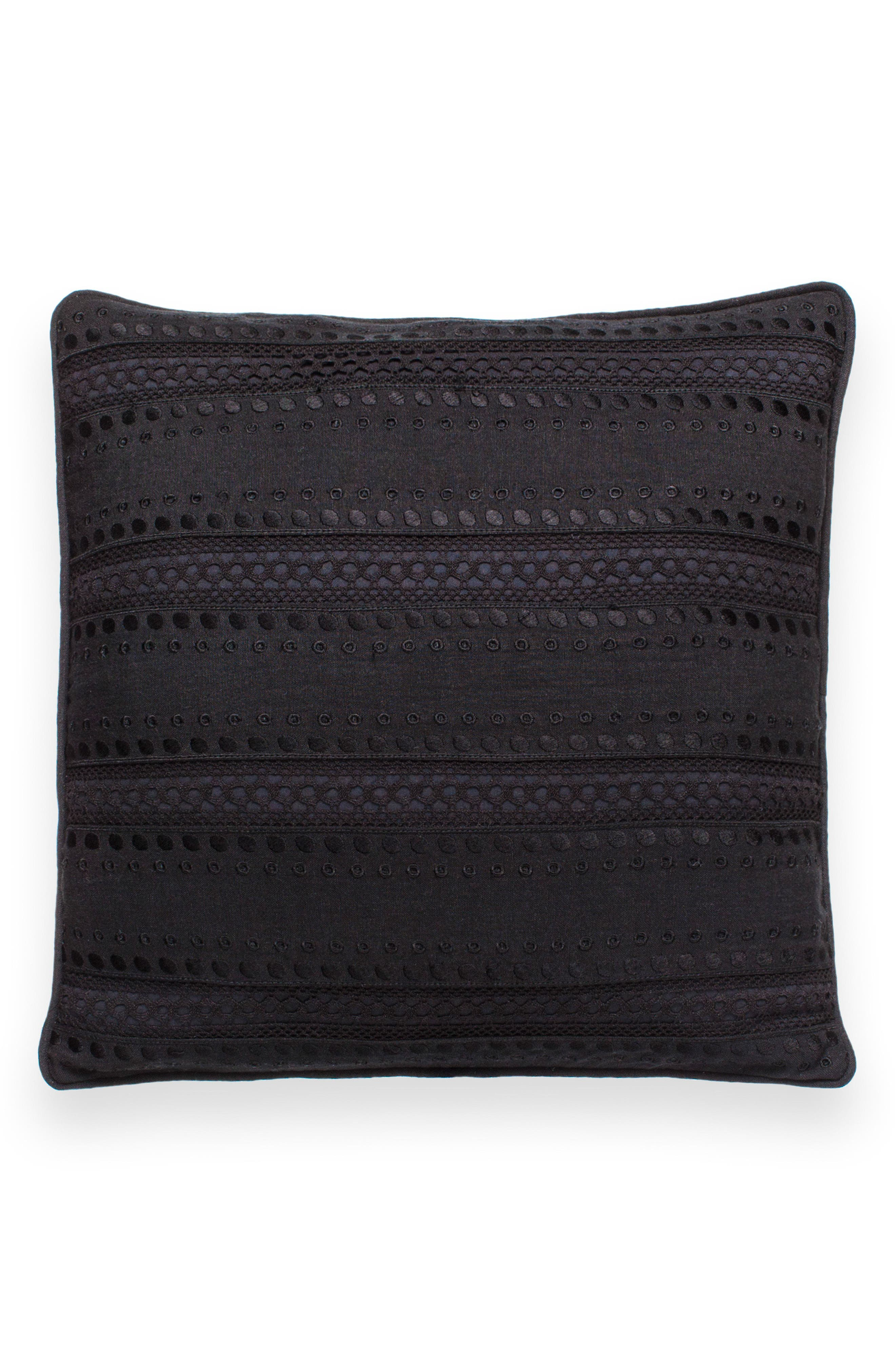 eyelet stripe accent pillow,                             Main thumbnail 1, color,                             Black