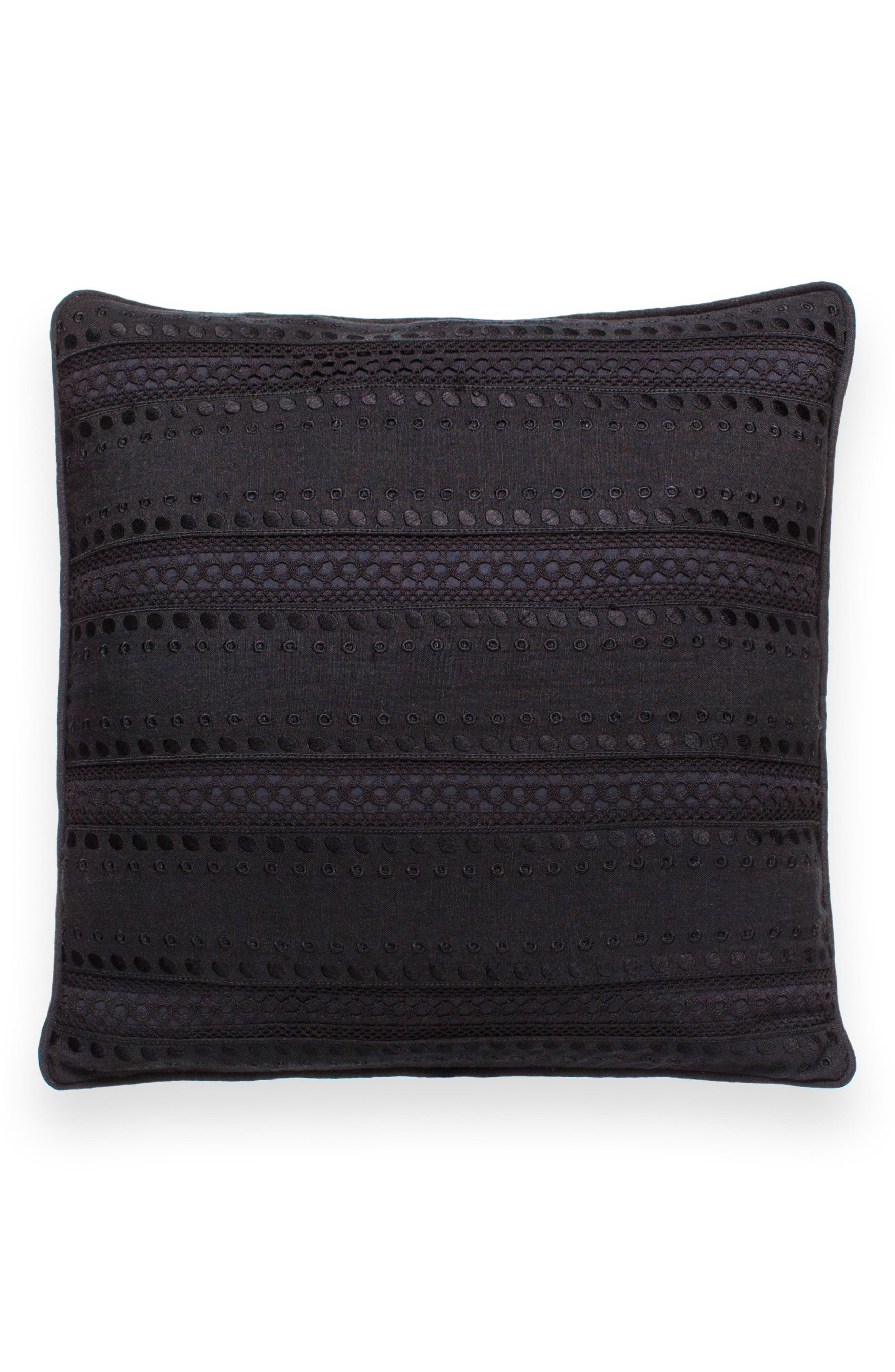 eyelet stripe accent pillow,                         Main,                         color, Black