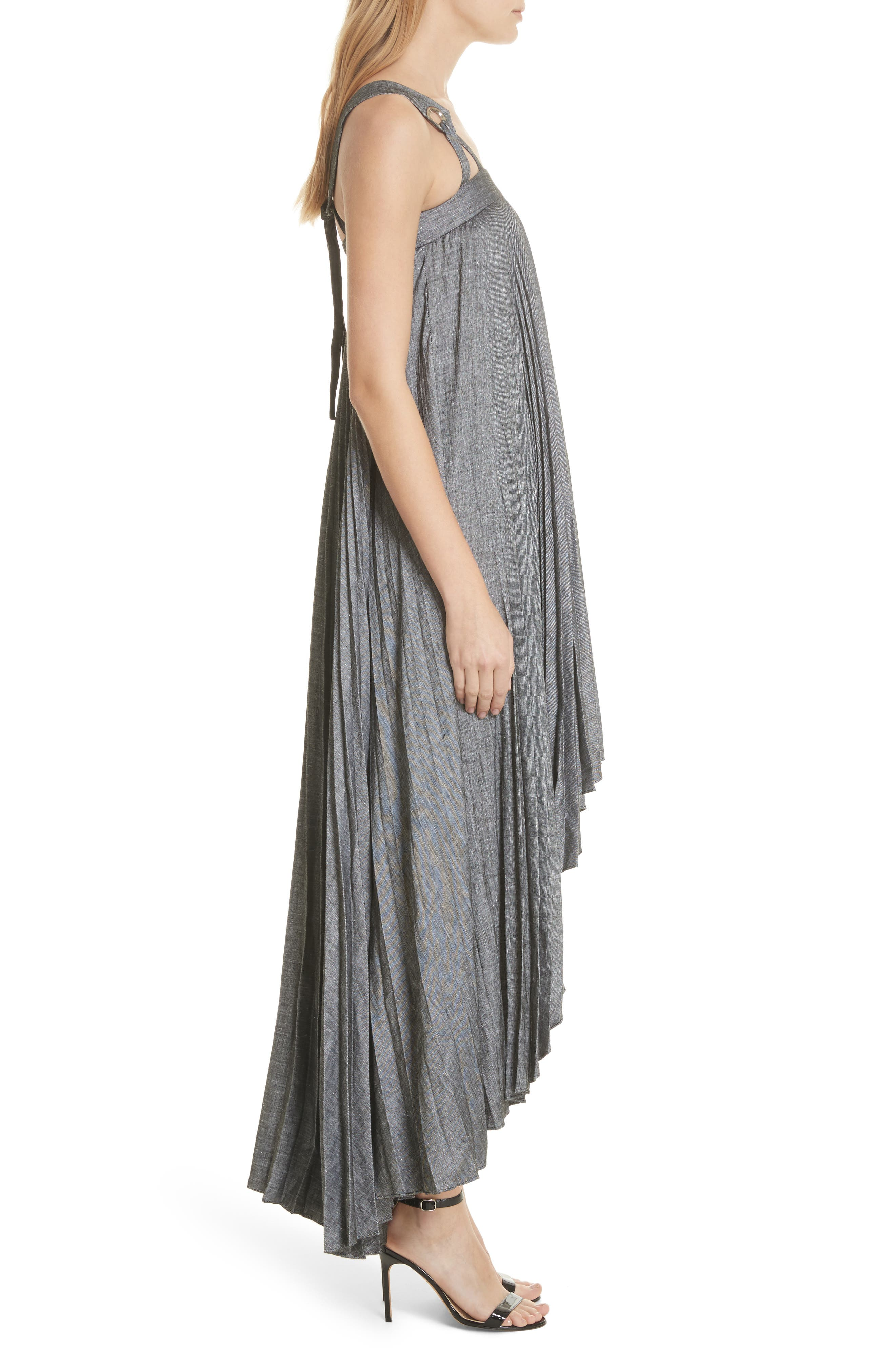 Sawyer High/Low Linen Blend Dress,                             Alternate thumbnail 3, color,                             Olive