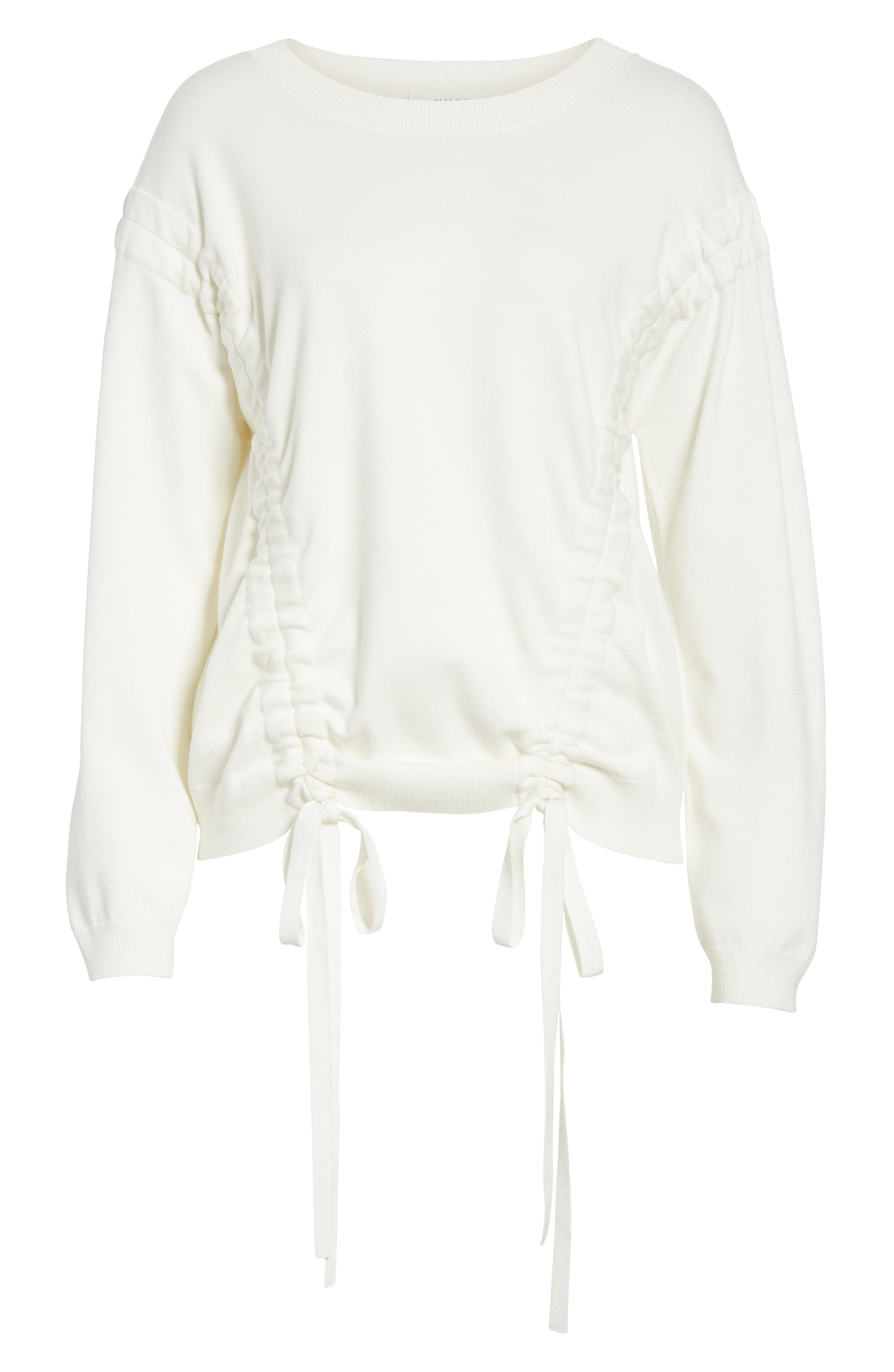 Tunneled Tie Sweatshirt,                             Alternate thumbnail 6, color,                             White