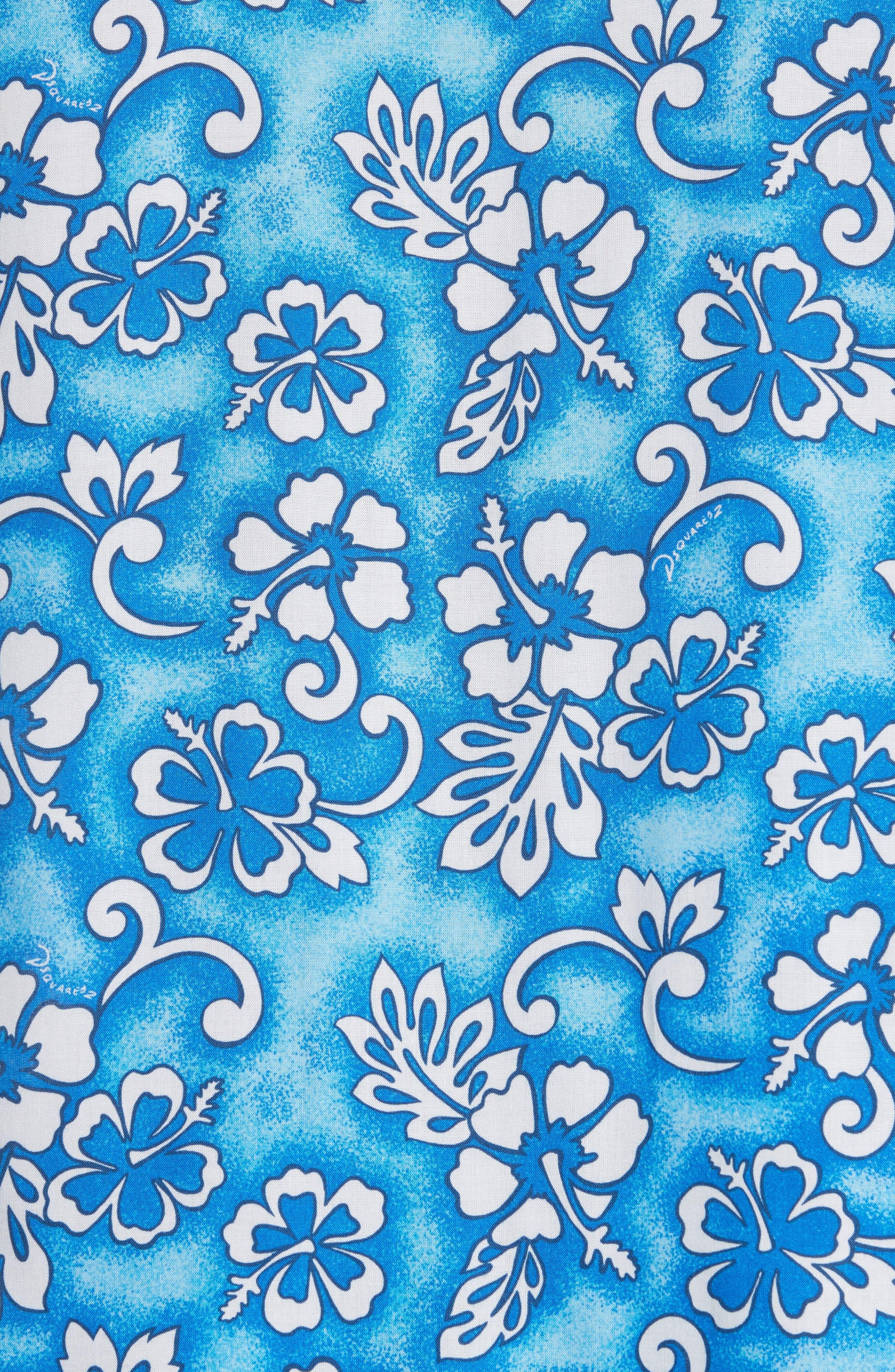Floral Print Camp Shirt,                             Alternate thumbnail 5, color,                             Blue