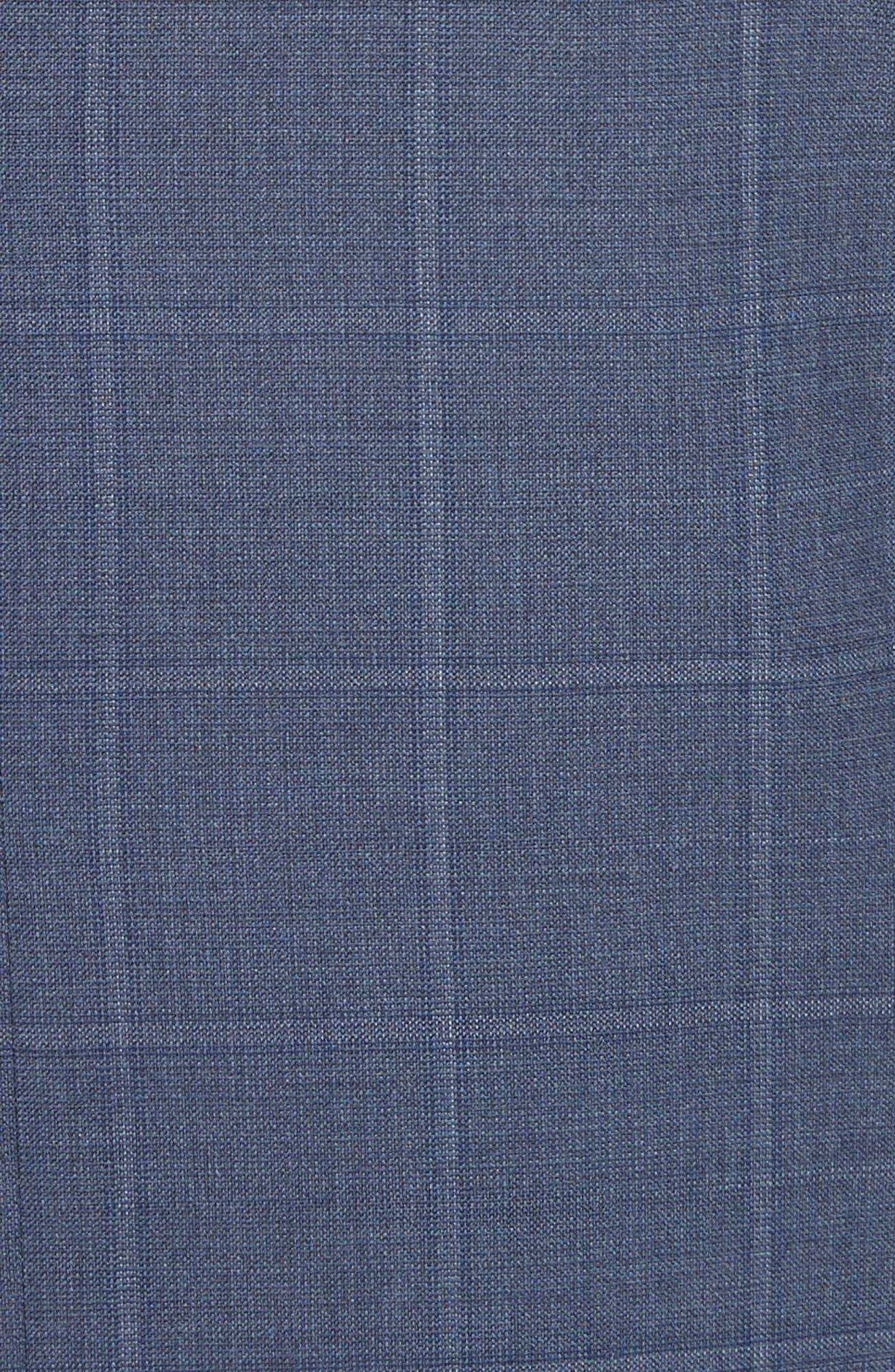 G Line Trim Fit Windowpane Wool Suit,                             Alternate thumbnail 7, color,                             Blue