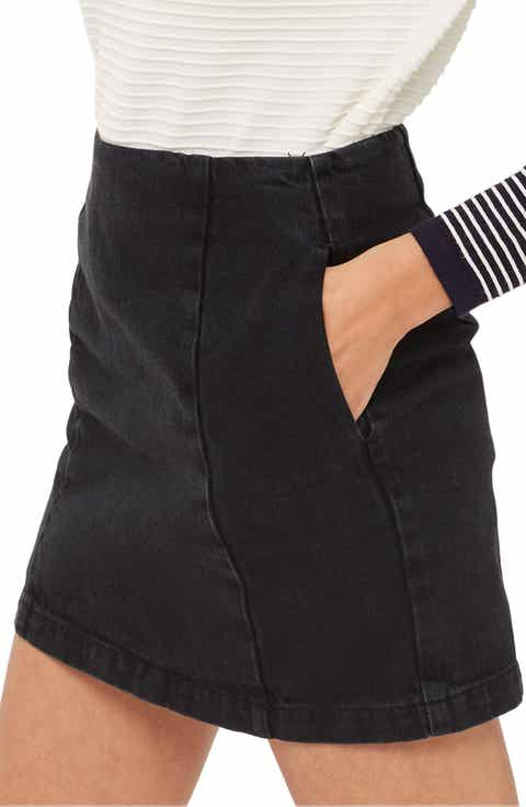Topshop Double Seam Denim Miniskirt