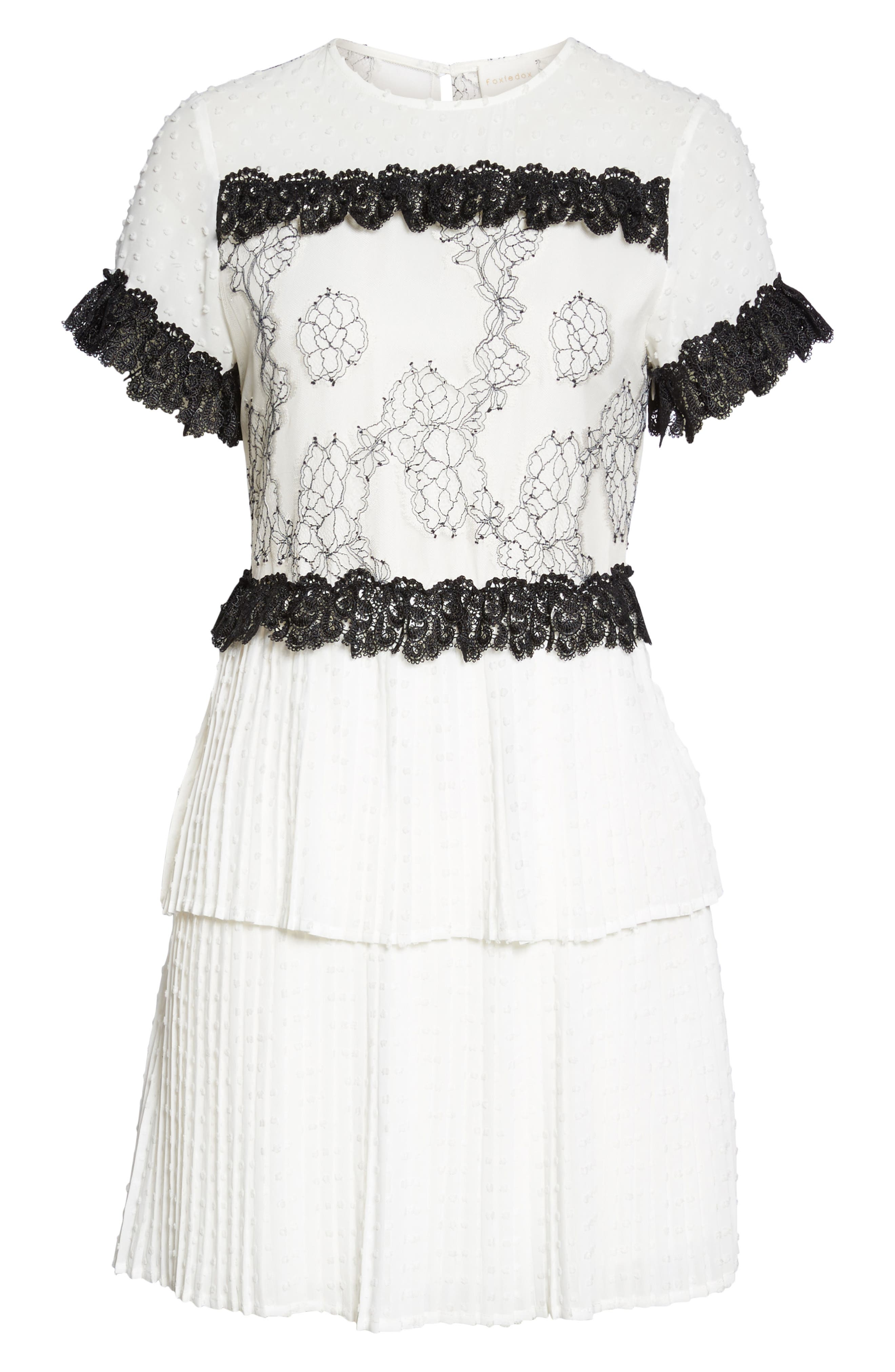 Melita Tiered Lace Dress,                             Alternate thumbnail 6, color,                             White W/ Black Lace