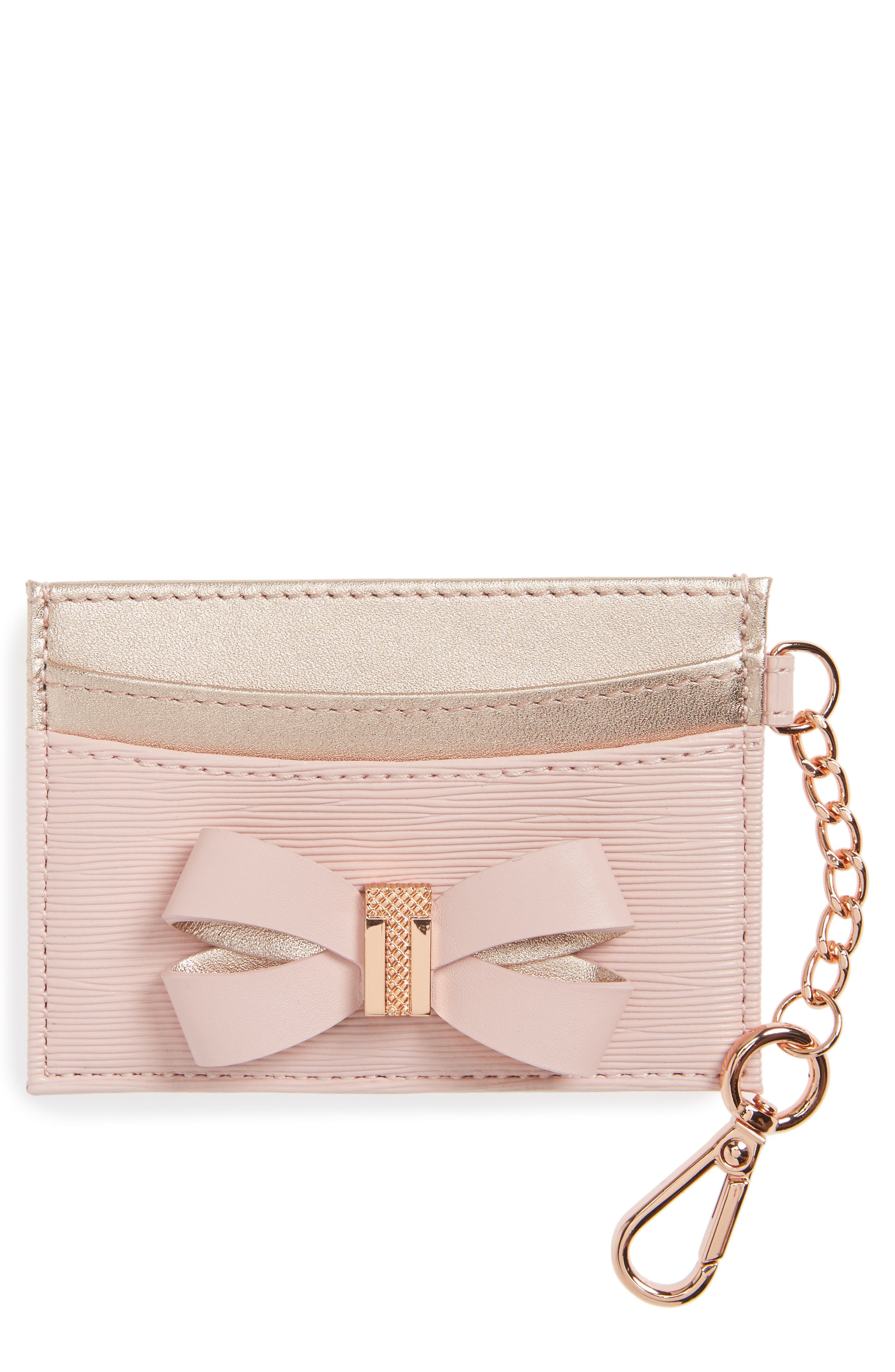 Ted Baker London Meira Bow Leather Card Holder with Chain