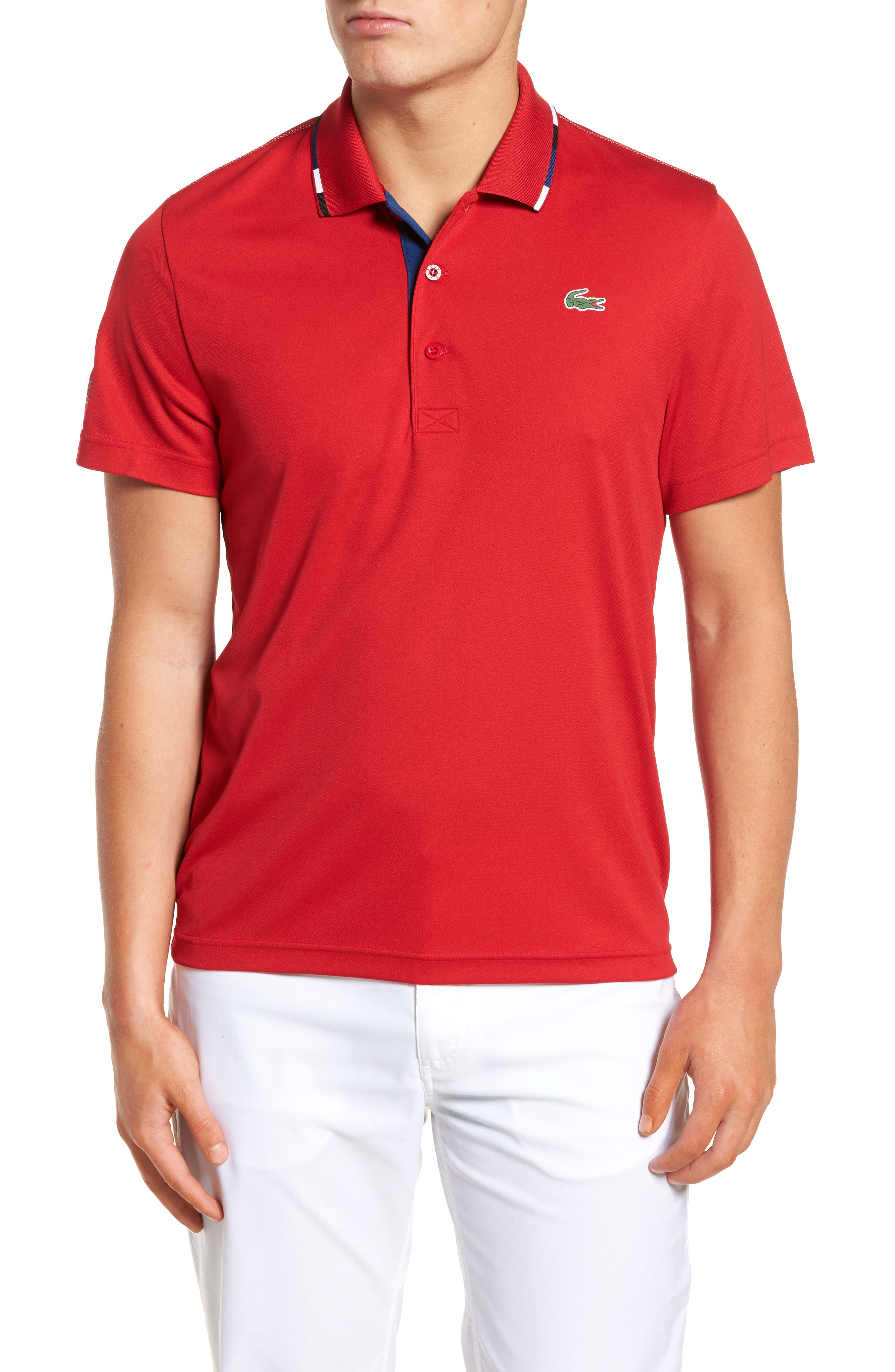 Sport Piped Piqué Tech Polo,                             Main thumbnail 1, color,                             Red/ Marino-Black-White