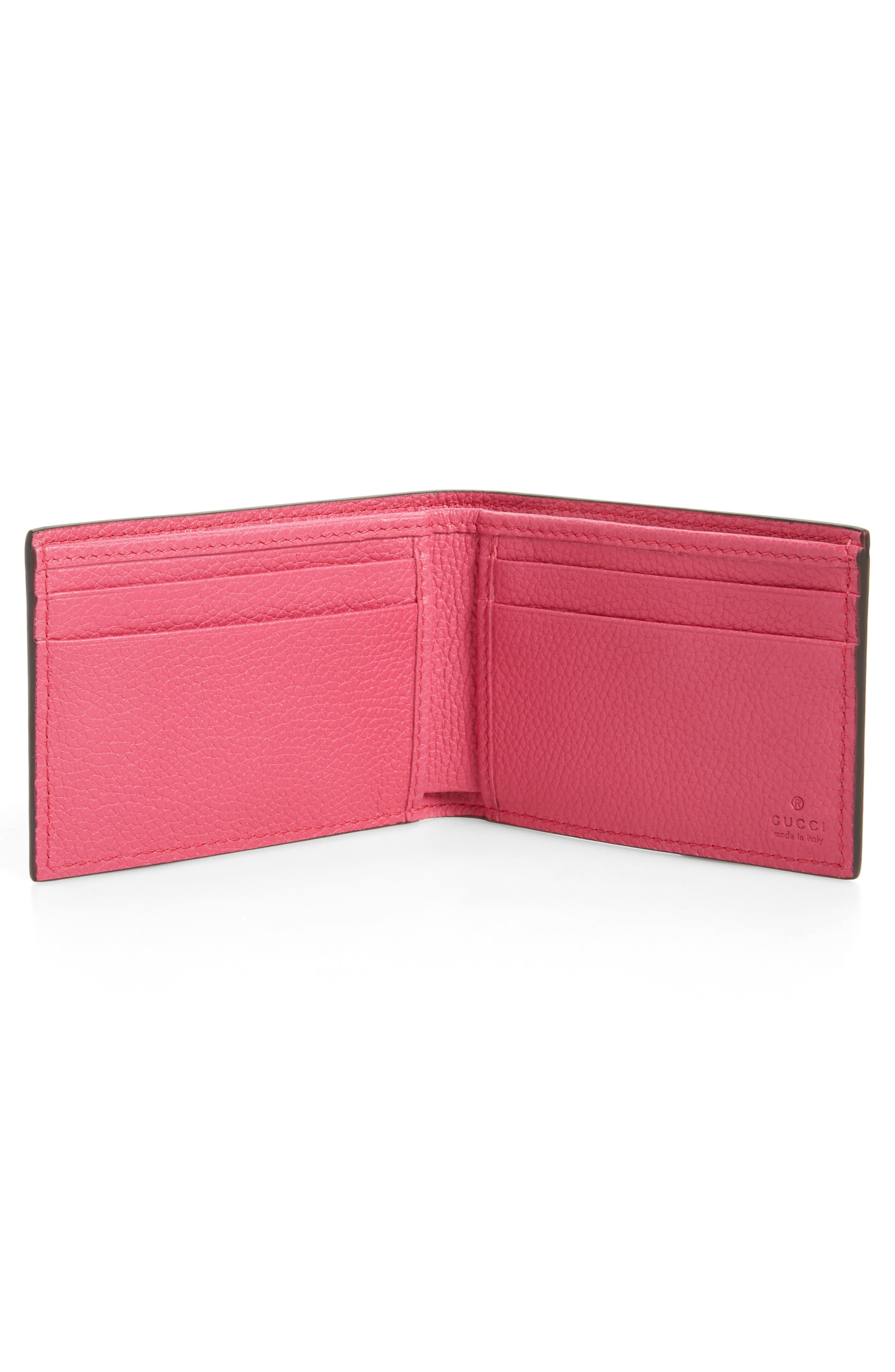 Bifold Leather Wallet,                             Alternate thumbnail 2, color,                             Pink