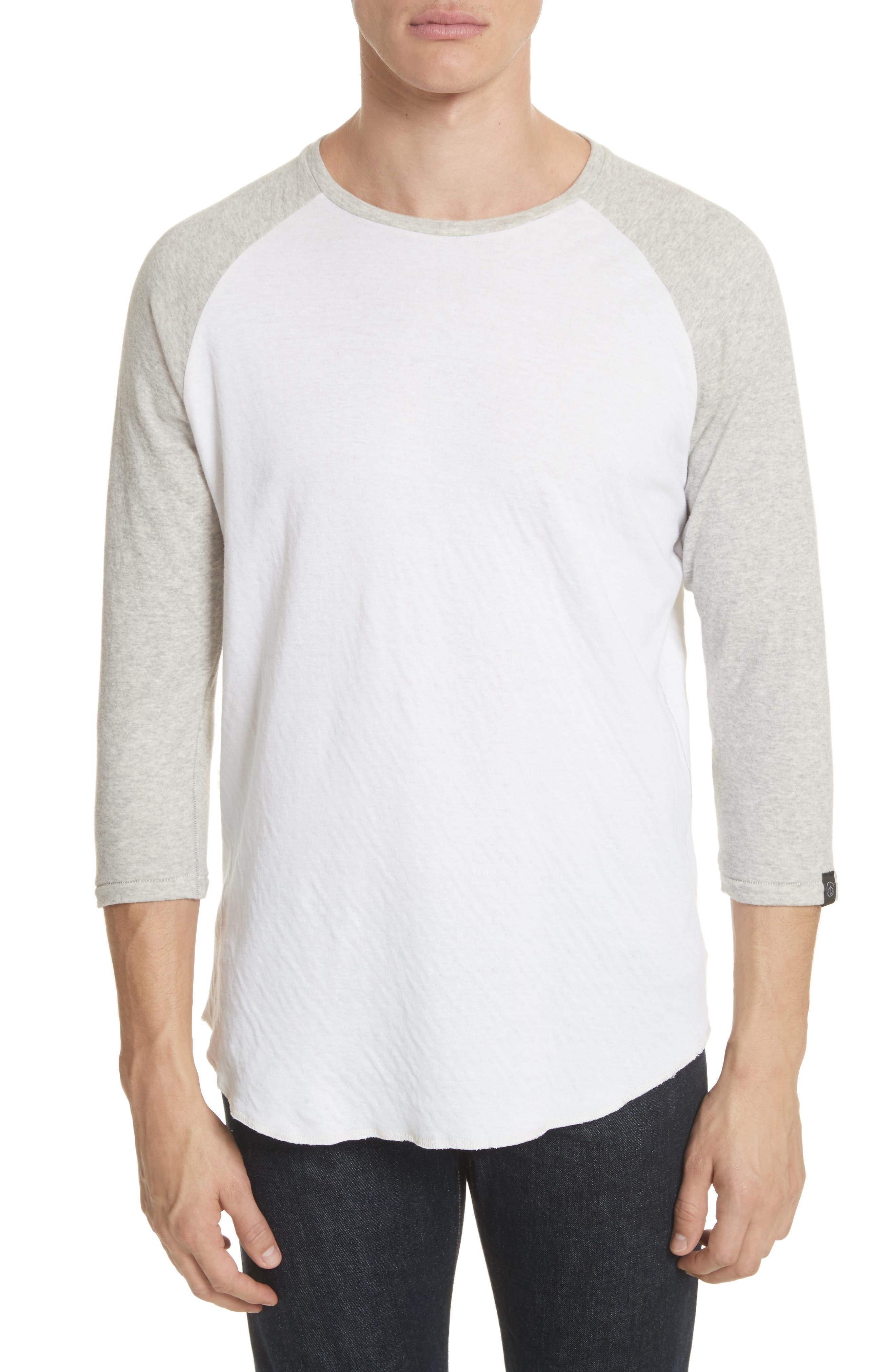 Rigby Baseball T-Shirt,                             Main thumbnail 1, color,                             Grey/ White