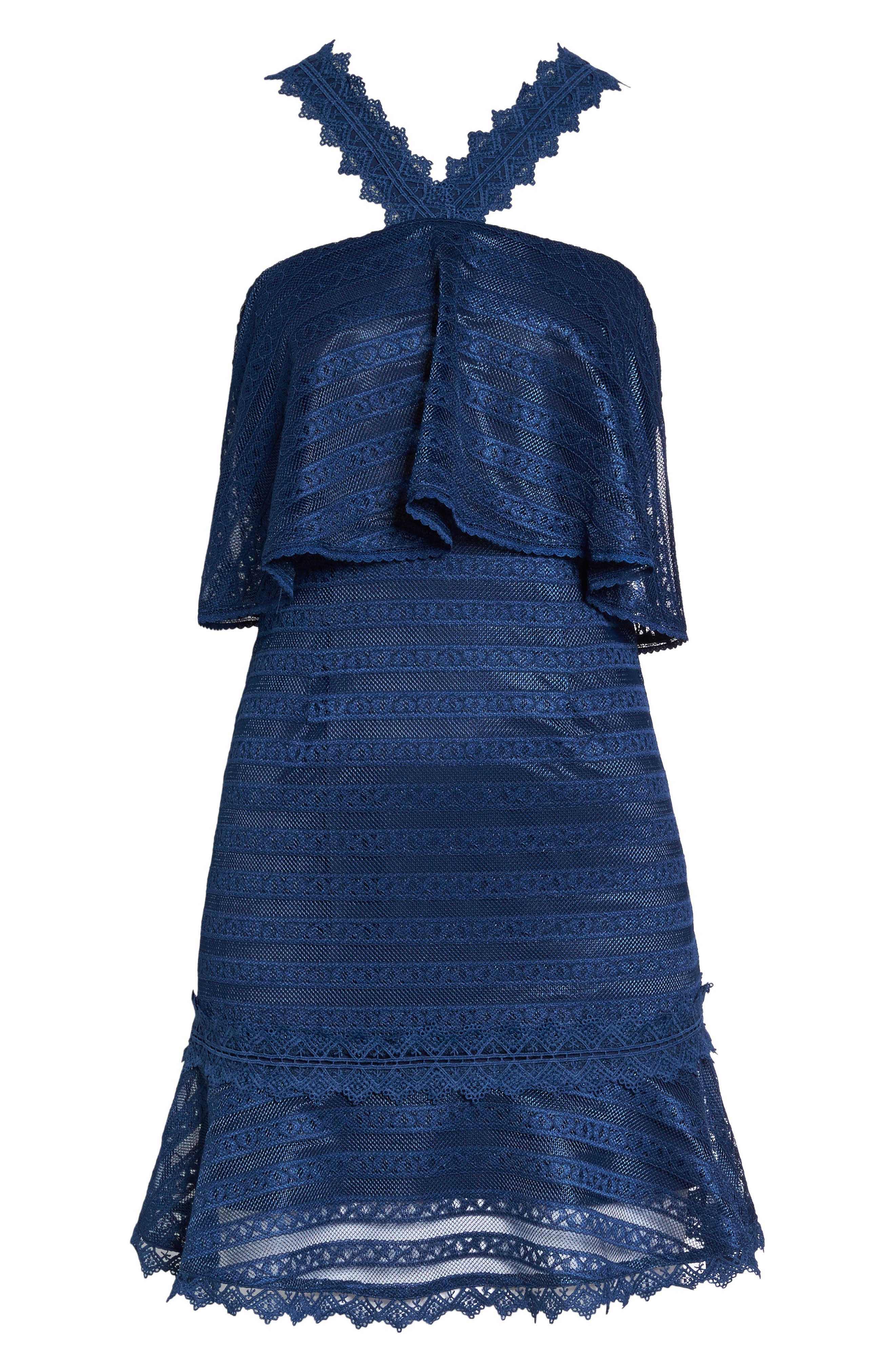 Lucy Ruffle Halter Dress,                             Alternate thumbnail 6, color,                             Navy