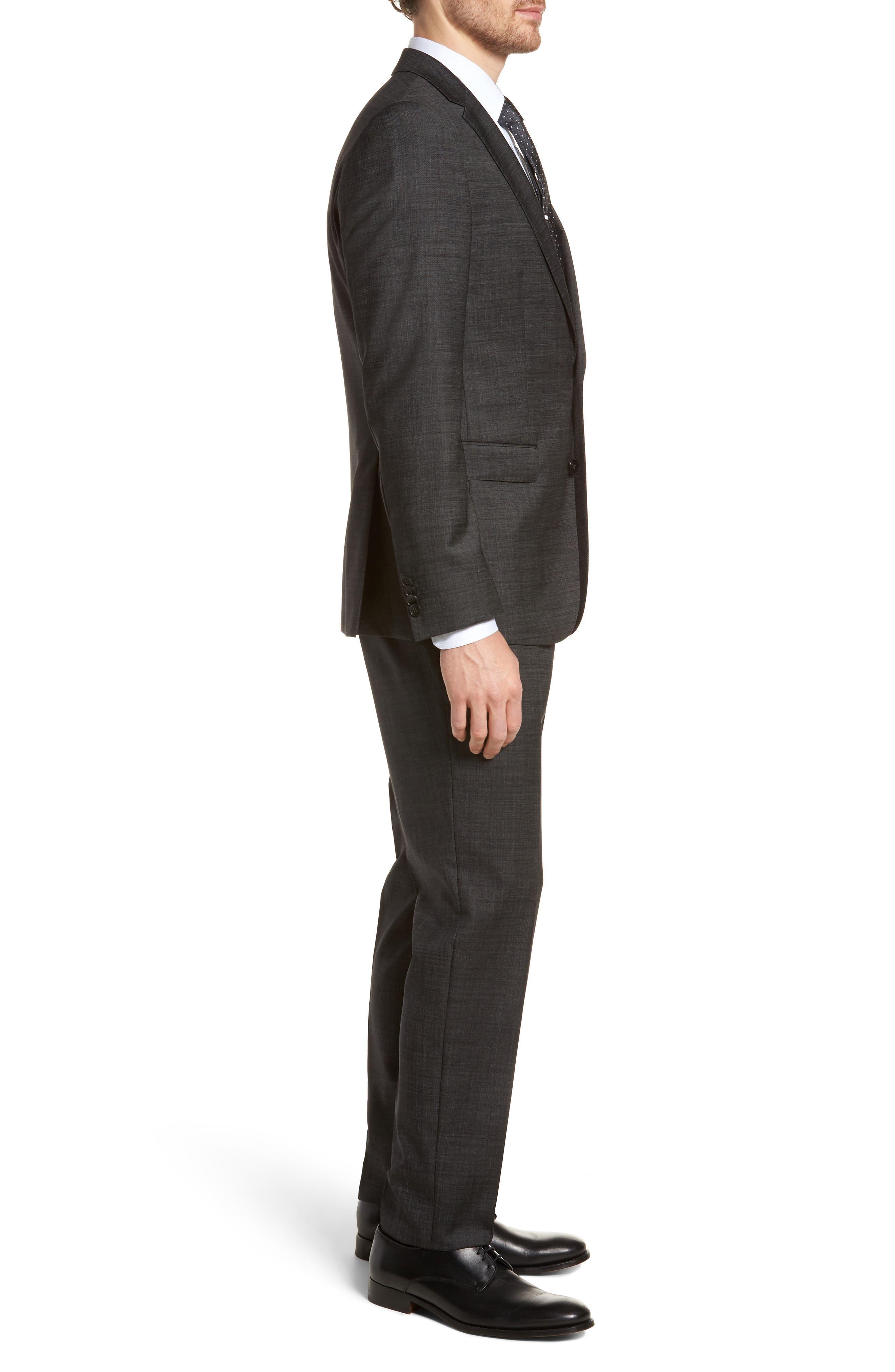 Novan/Ben Trim Fit Solid Wool Suit,                             Alternate thumbnail 3, color,                             Black