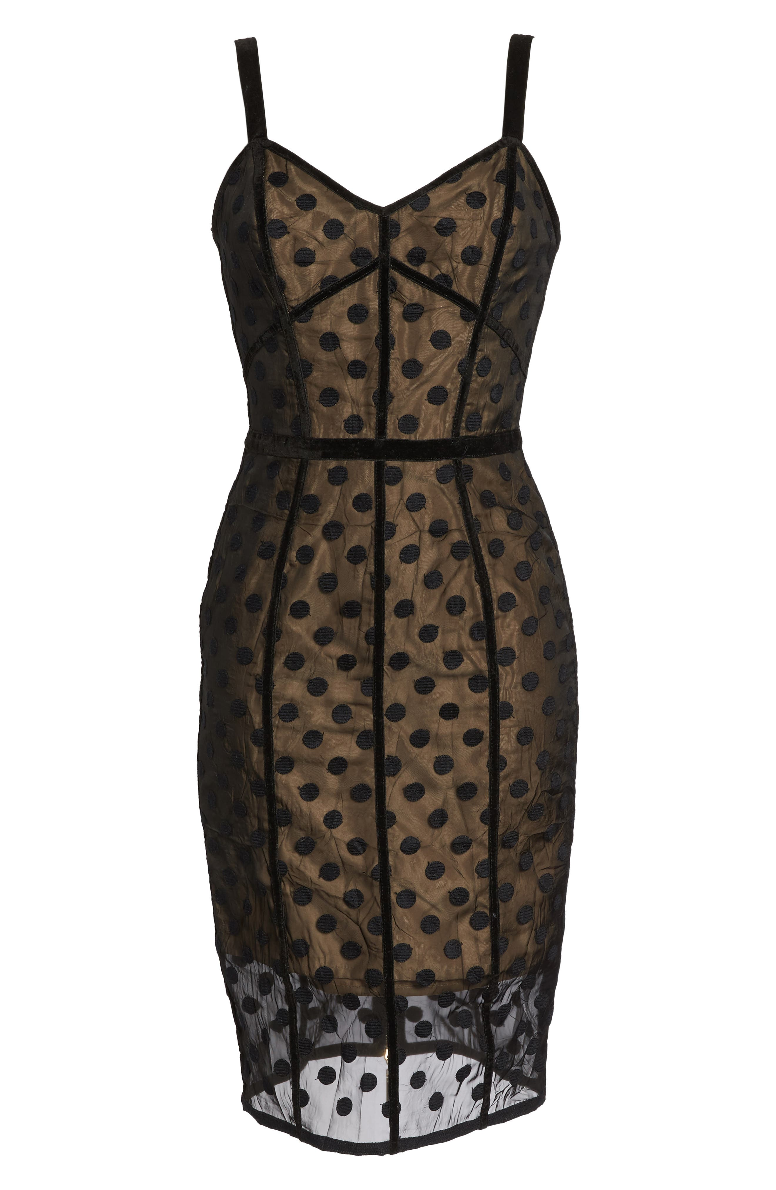 Isabella Noir Dot Embroidered Body-Con Dress,                             Alternate thumbnail 10, color,                             Black/ Nude