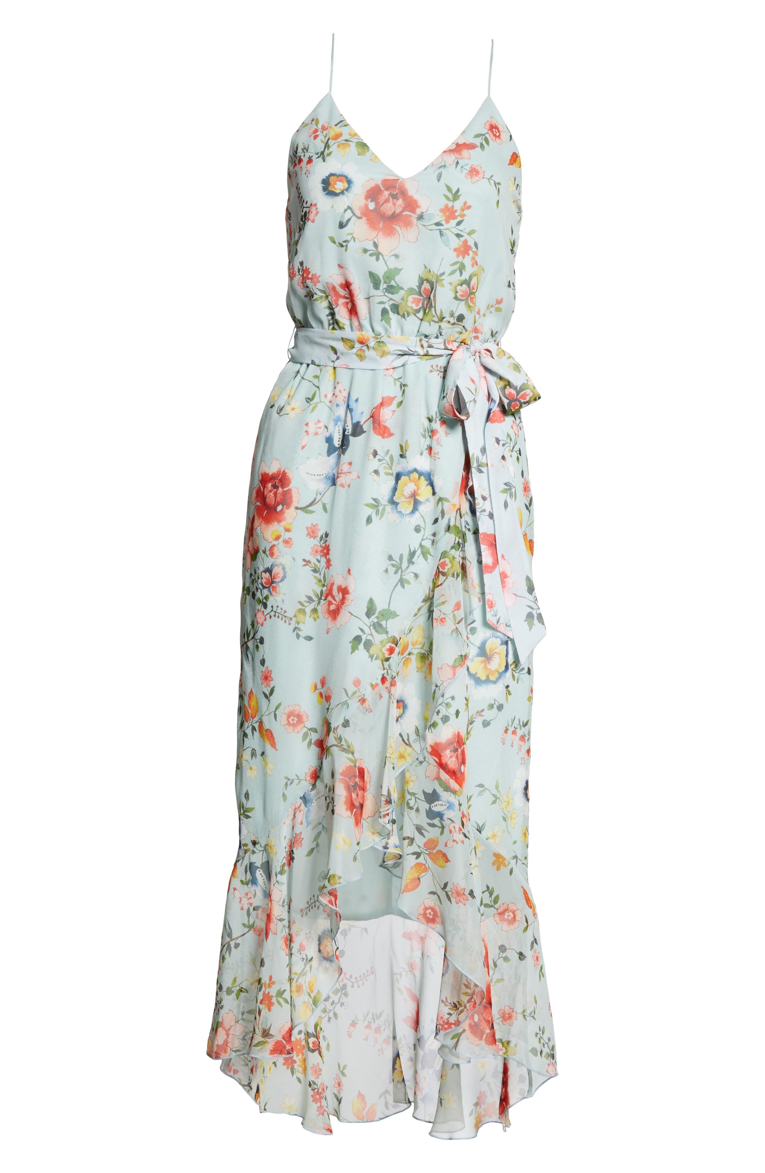Mable Floral Silk Midi Dress,                             Alternate thumbnail 6, color,                             Floral Soiree-Dusty Aqua
