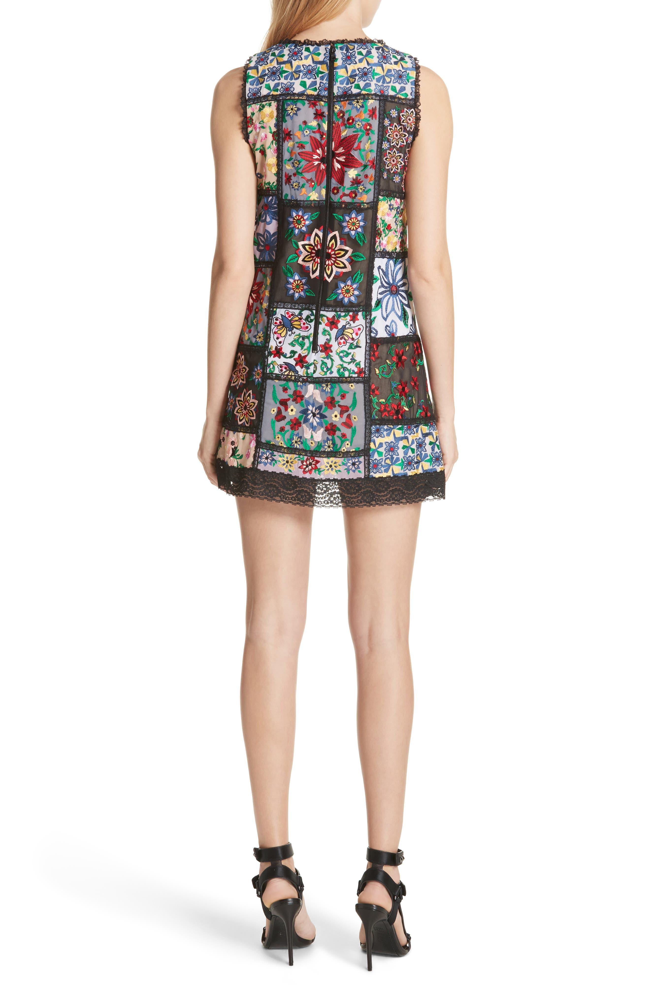 Marcelina Embroidered Mini Dress,                             Alternate thumbnail 2, color,                             Multi