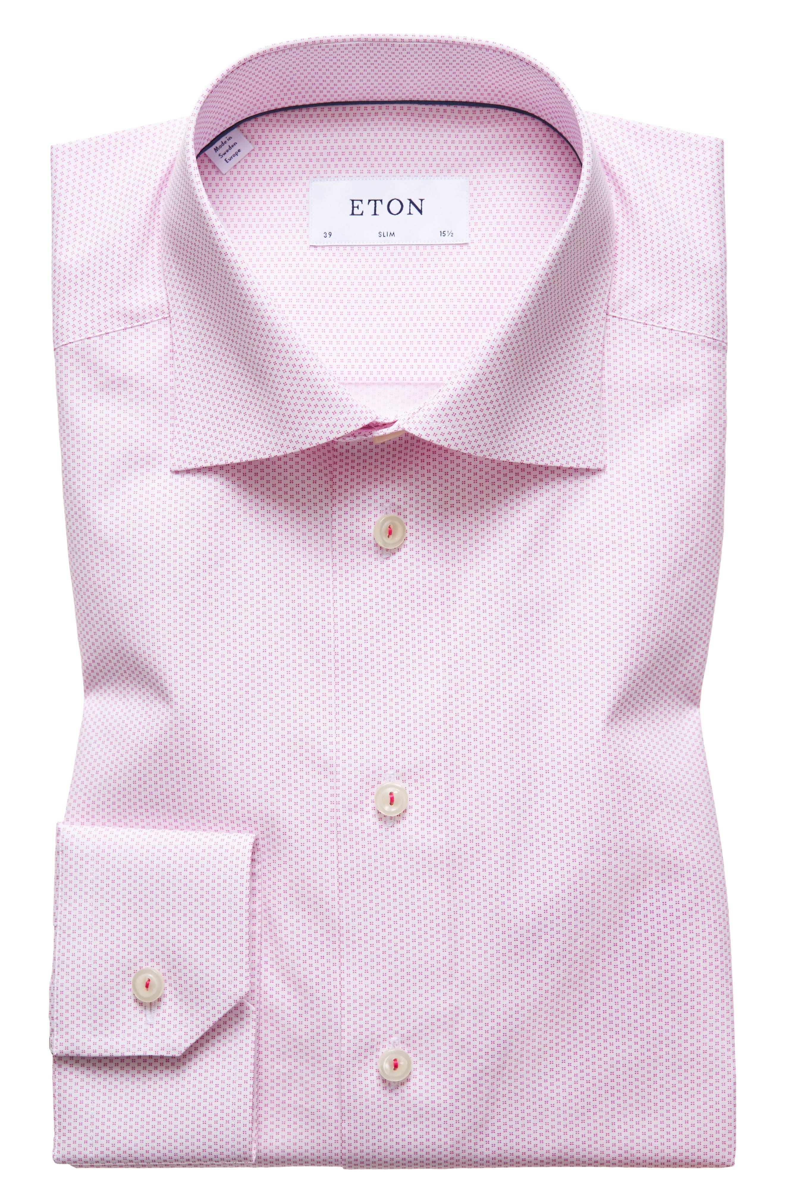 Slim Fit Print Dress Shirt,                         Main,                         color, Pink