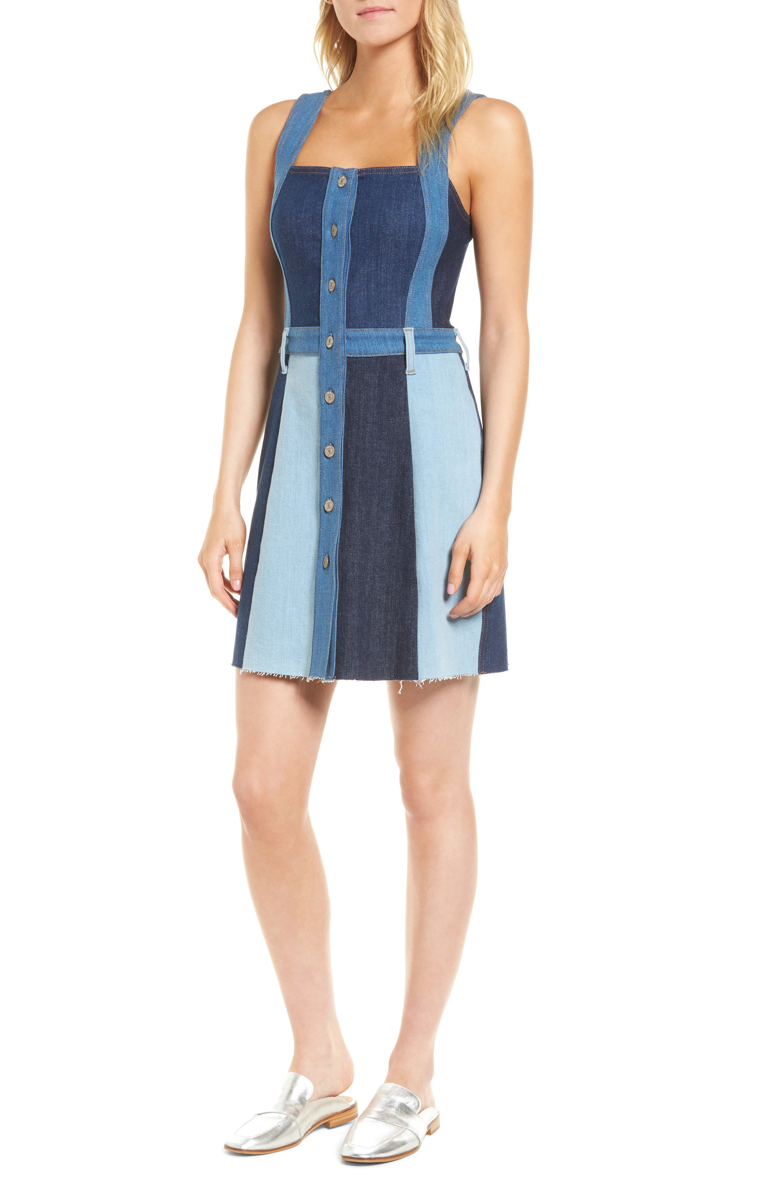 Patchwork Denim Dress,                         Main,                         color, Patchwork Found