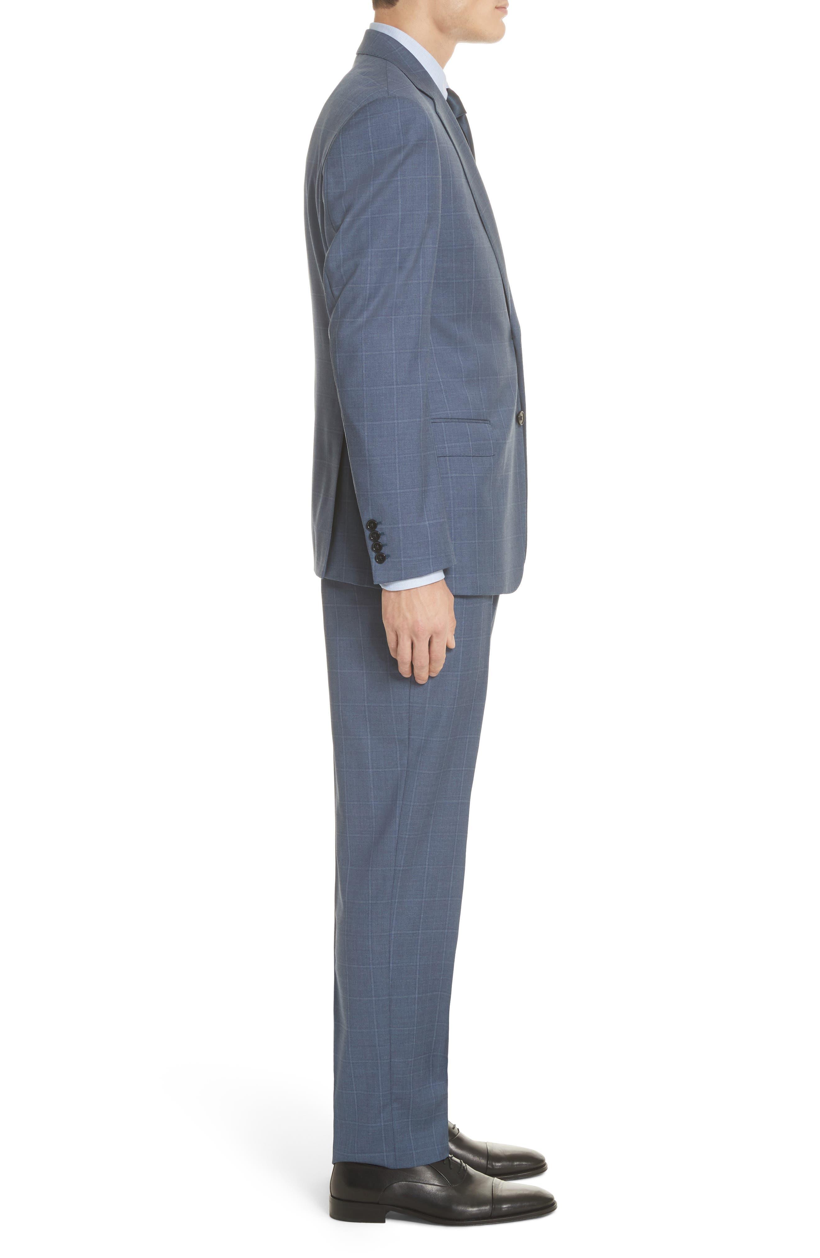 G Line Trim Fit Windowpane Wool Suit,                             Alternate thumbnail 3, color,                             Blue
