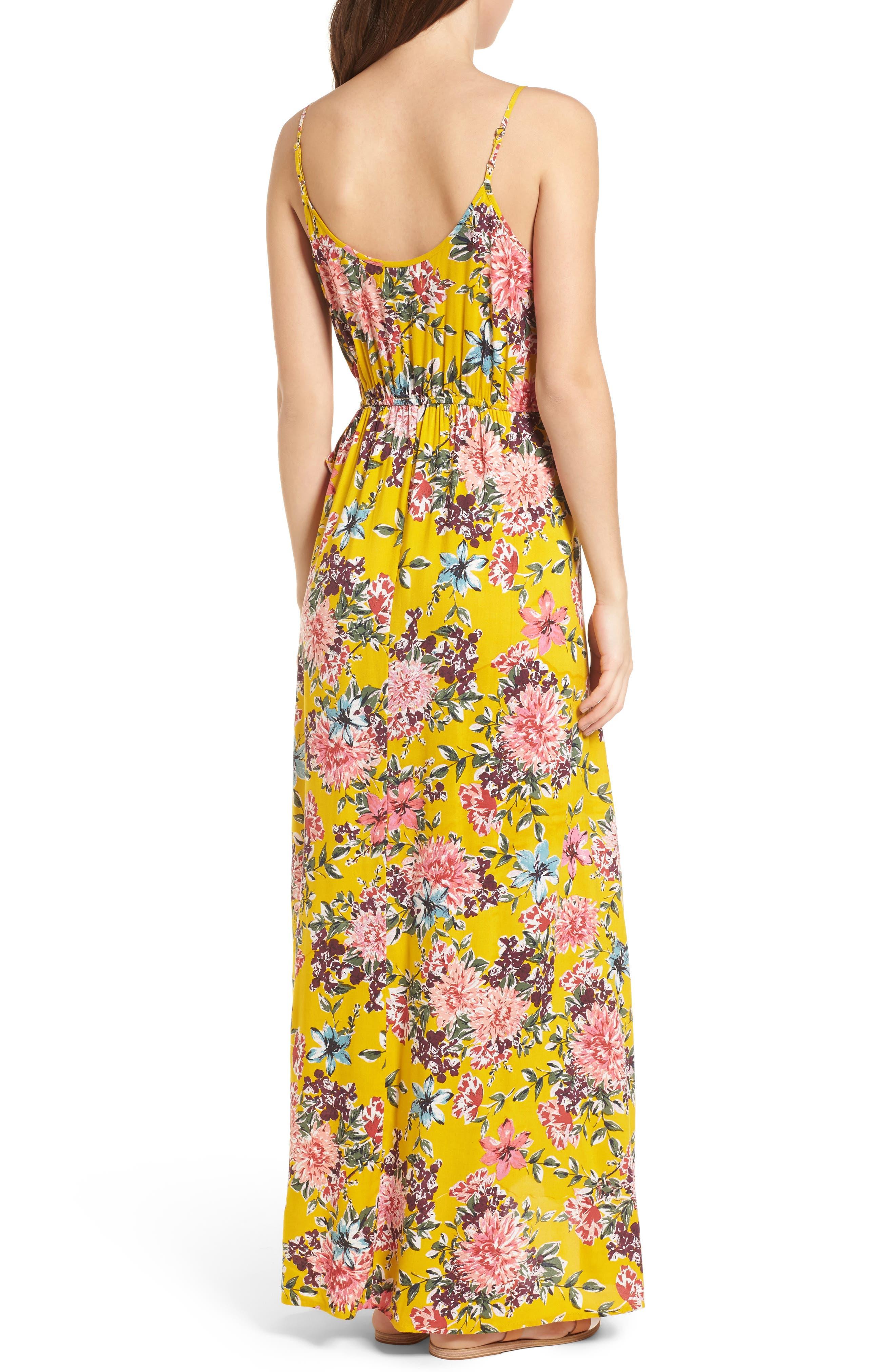 Chrysanthemum Wrap Front Dress,                             Alternate thumbnail 2, color,                             Mustard/ Pink