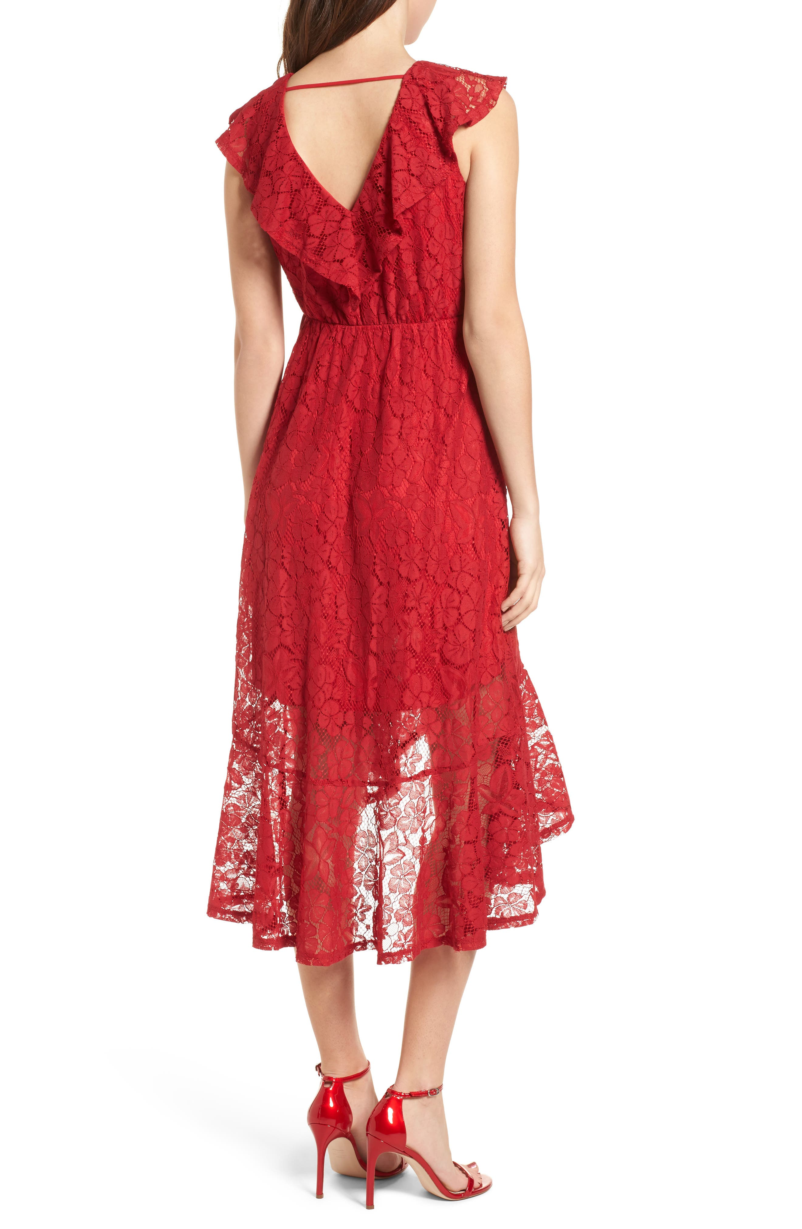 Ruffle Lace Wrap Dress,                             Alternate thumbnail 2, color,                             Red