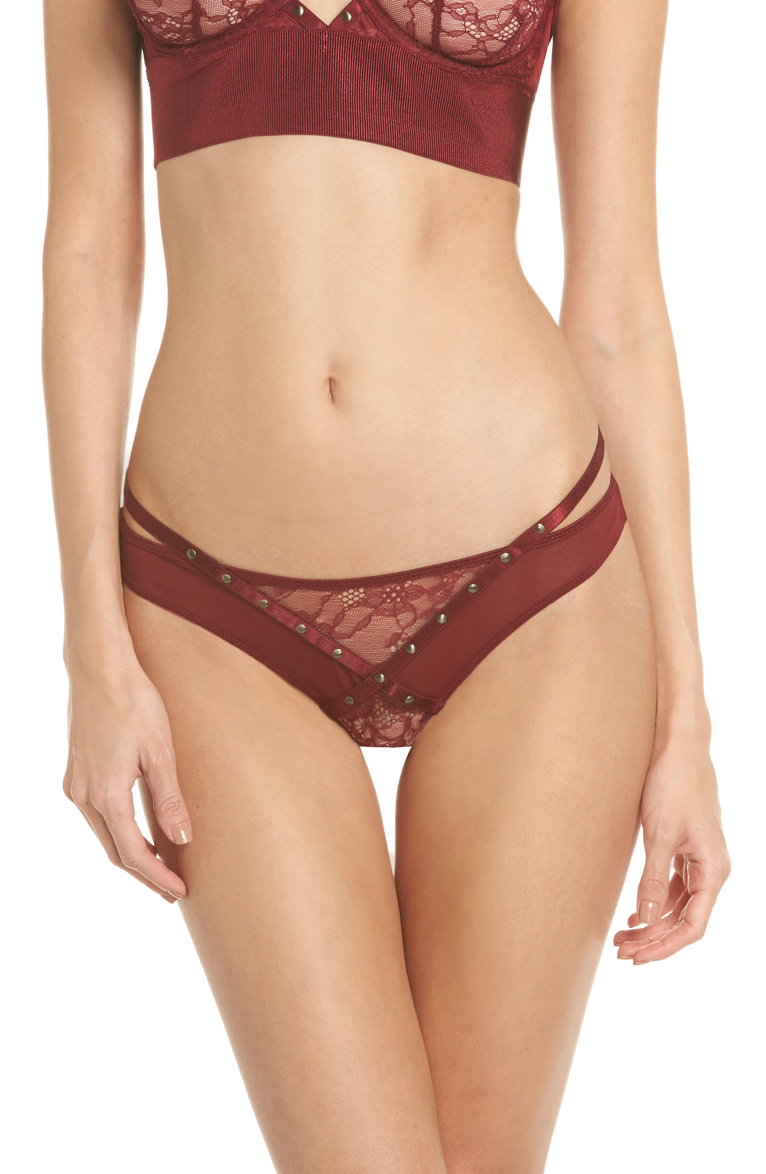 Karly Studded Thong,                         Main,                         color, Red