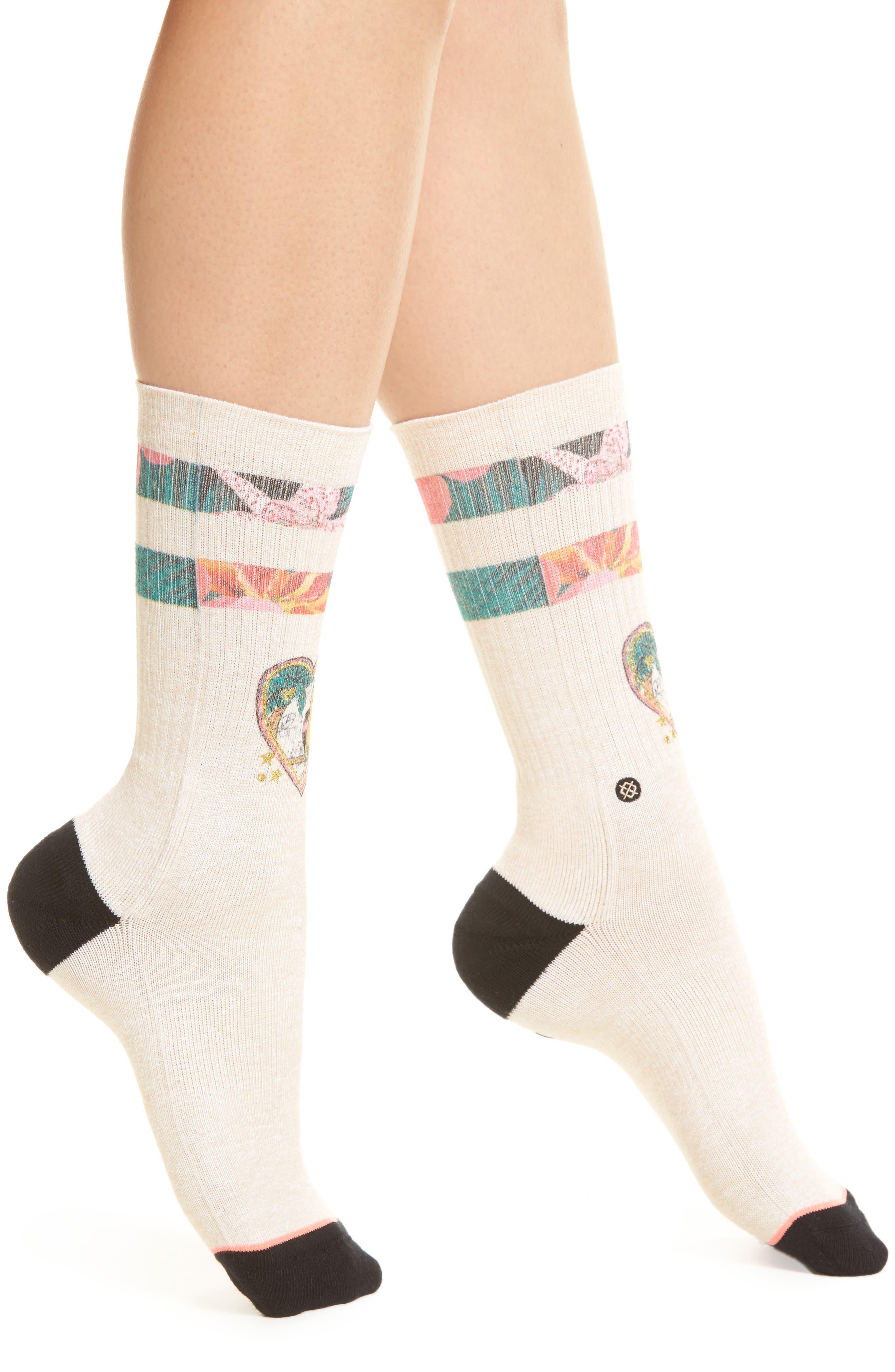 Lovebird Crew Socks,                             Main thumbnail 1, color,                             Natural