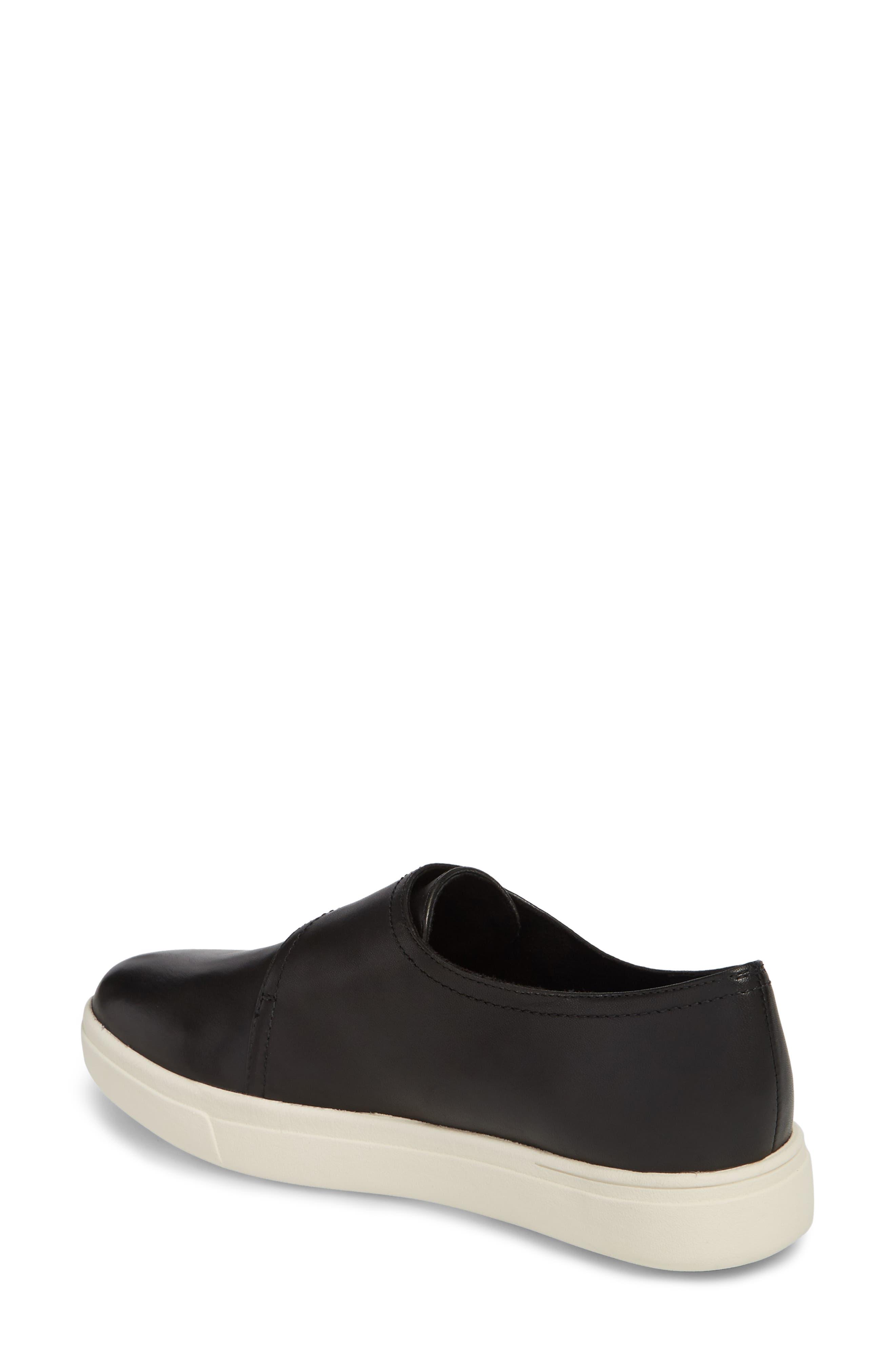 Oberon Slip-On Sneaker,                             Alternate thumbnail 2, color,                             Black Leather