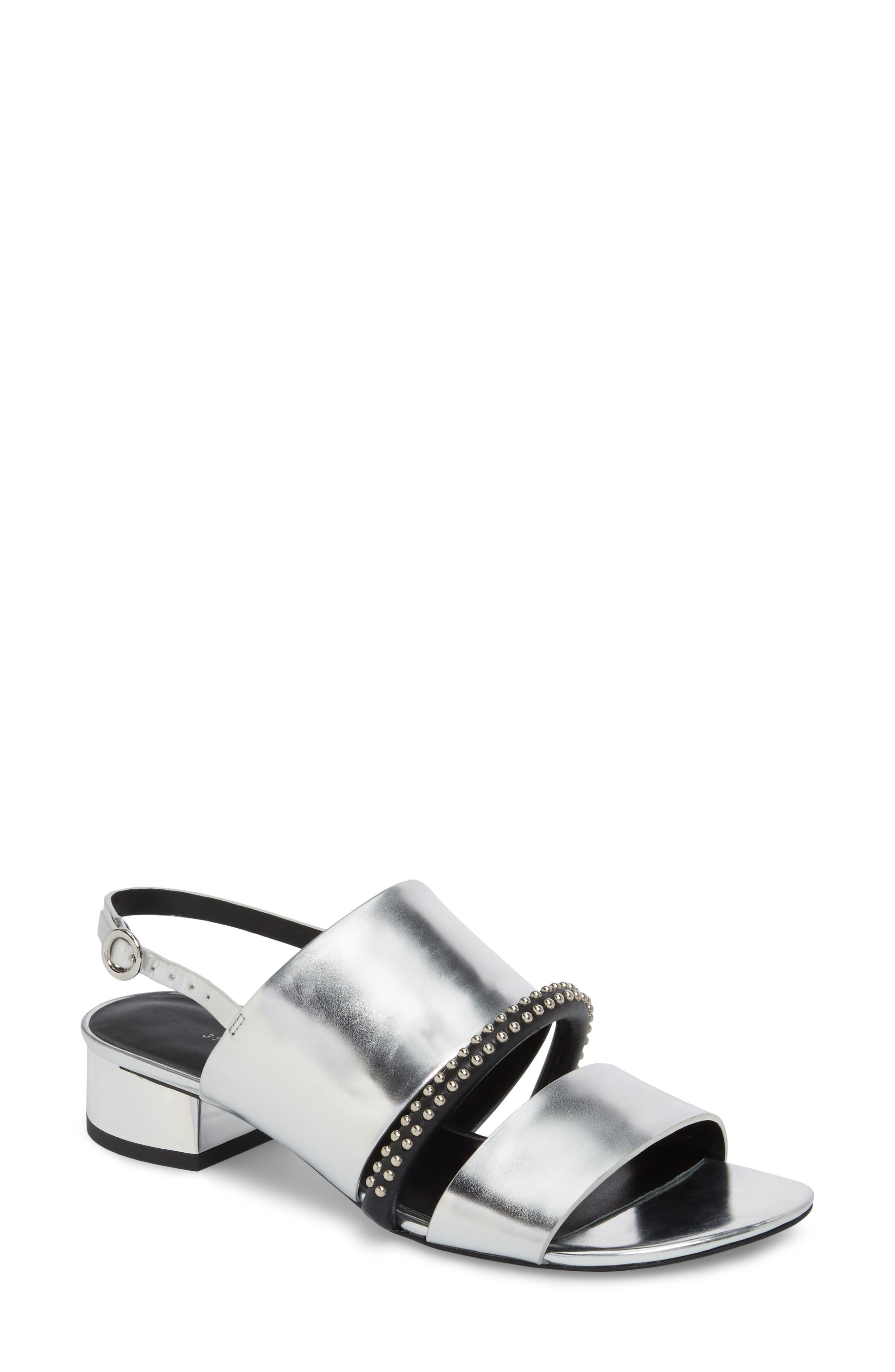 Drum Studded Slingback Sandal,                         Main,                         color, Silver
