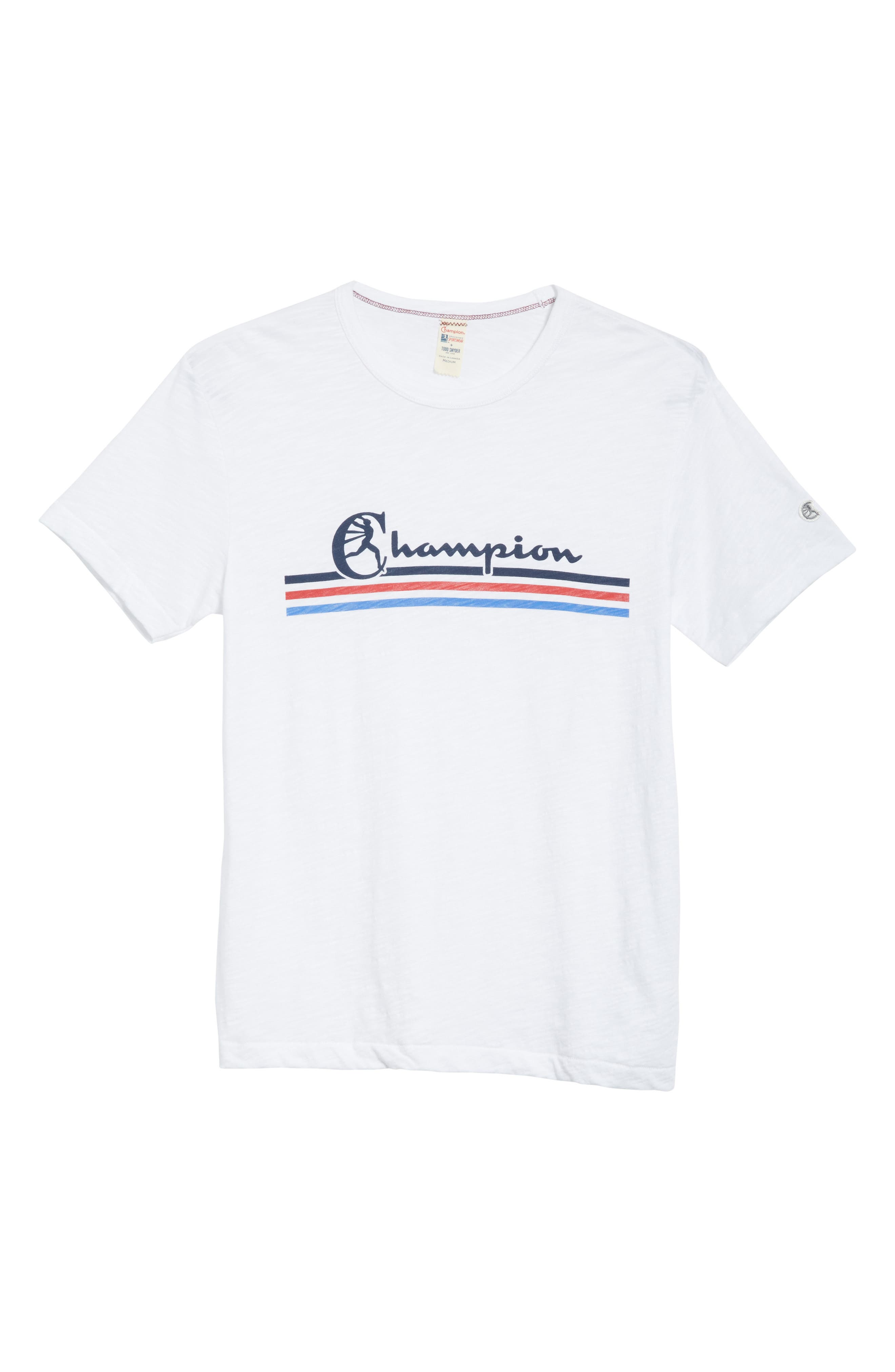 + Champion Stripe Logo T-Shirt,                             Alternate thumbnail 6, color,                             True White