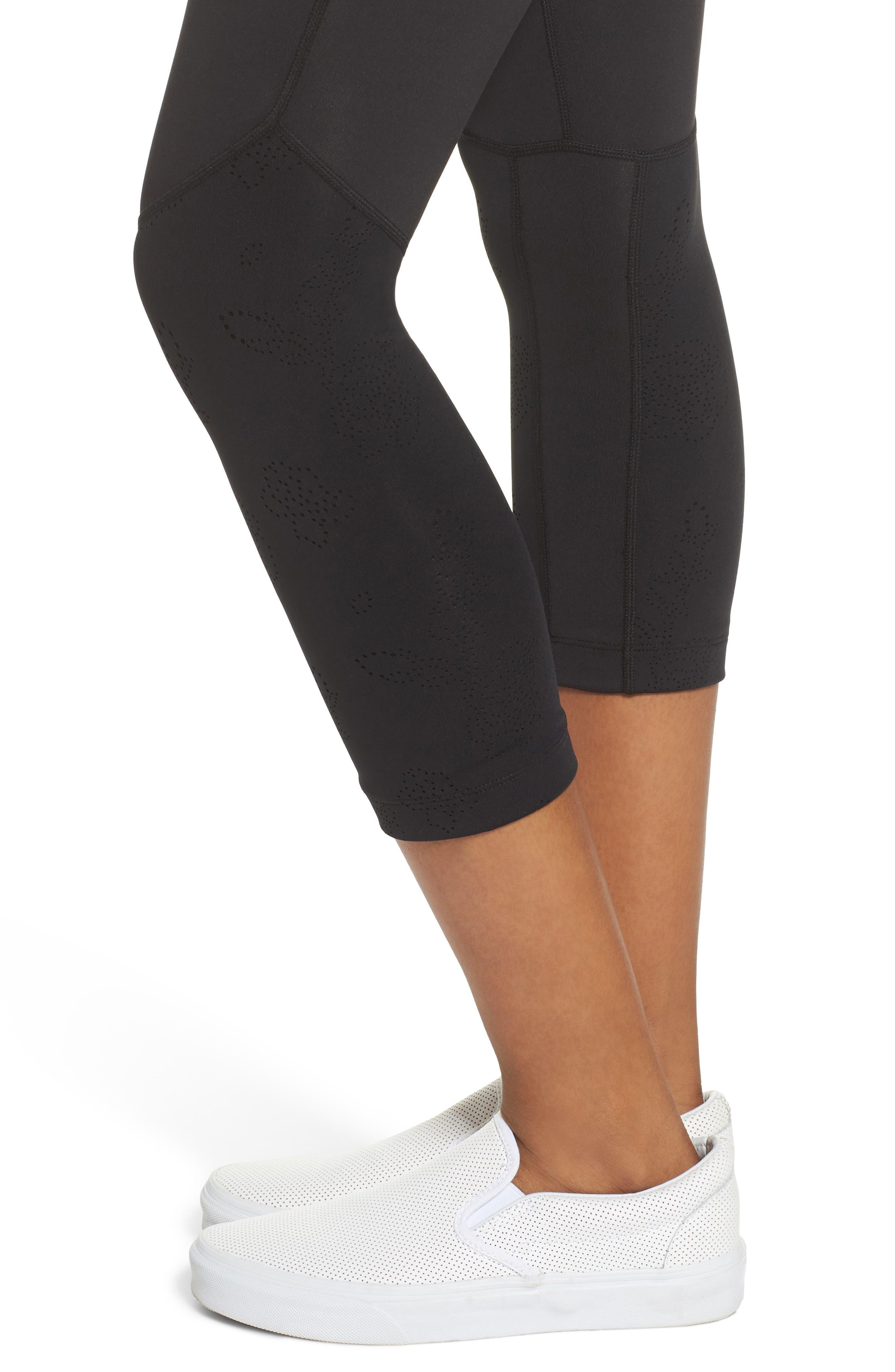 floral laser cut leggings,                             Alternate thumbnail 4, color,                             Black
